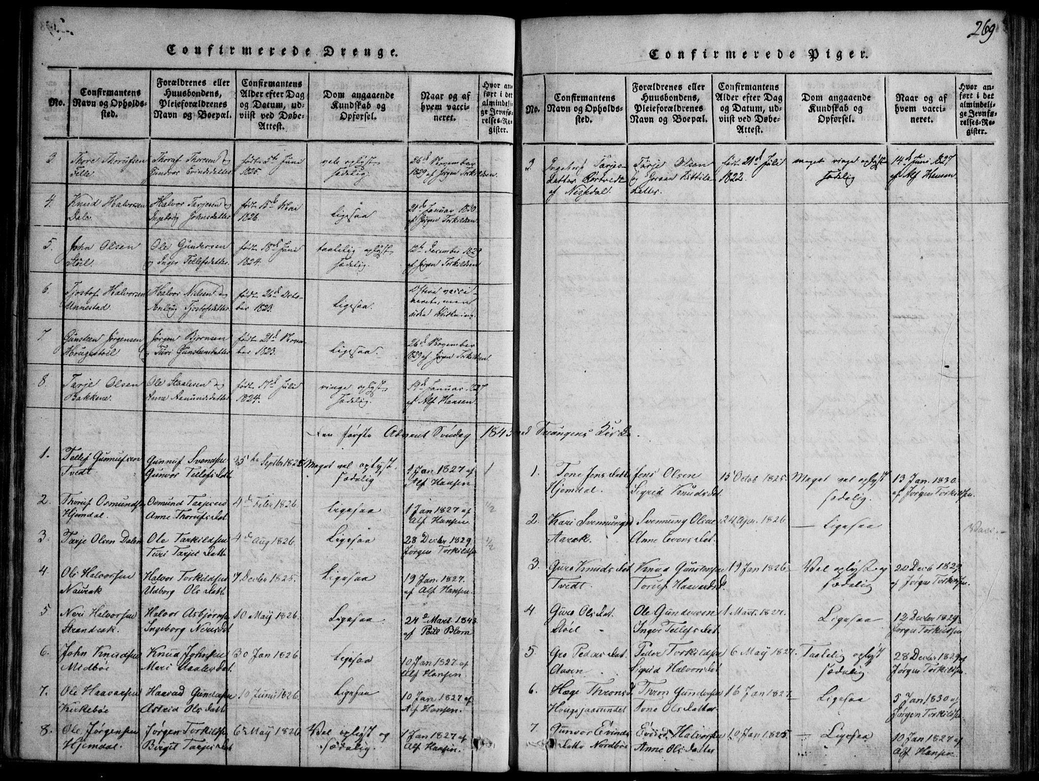 SAKO, Nissedal kirkebøker, F/Fb/L0001: Ministerialbok nr. II 1, 1814-1845, s. 269
