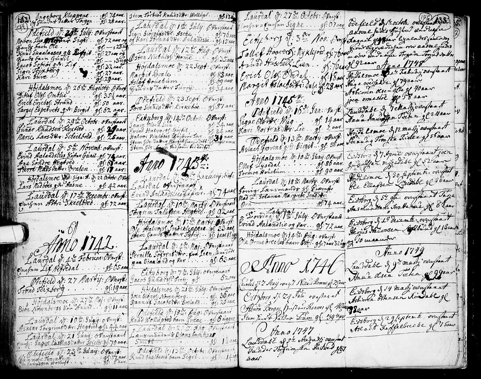 SAKO, Lårdal kirkebøker, F/Fa/L0002: Ministerialbok nr. I 2, 1734-1754, s. 174-175