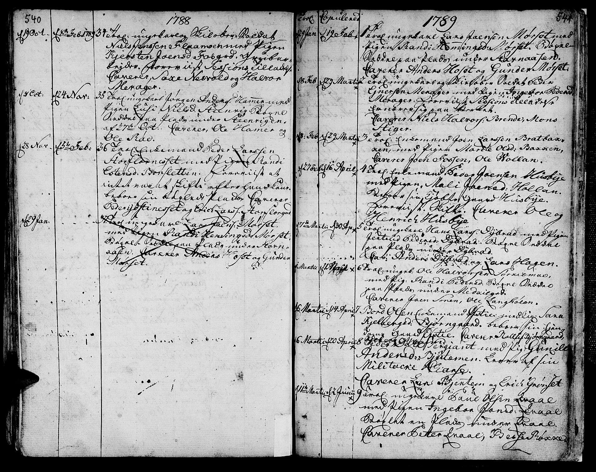 SAT, Ministerialprotokoller, klokkerbøker og fødselsregistre - Nord-Trøndelag, 709/L0059: Ministerialbok nr. 709A06, 1781-1797, s. 540-541