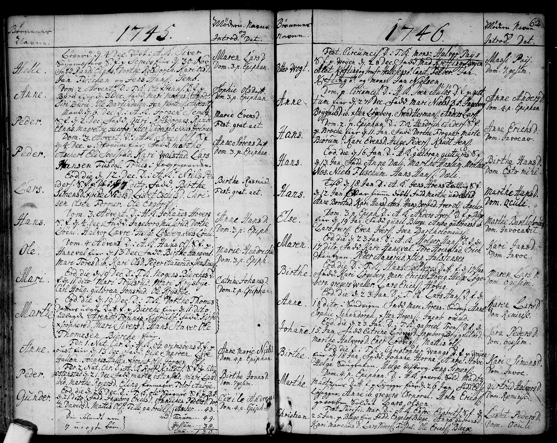 SAO, Asker prestekontor Kirkebøker, F/Fa/L0002: Ministerialbok nr. I 2, 1733-1766, s. 62