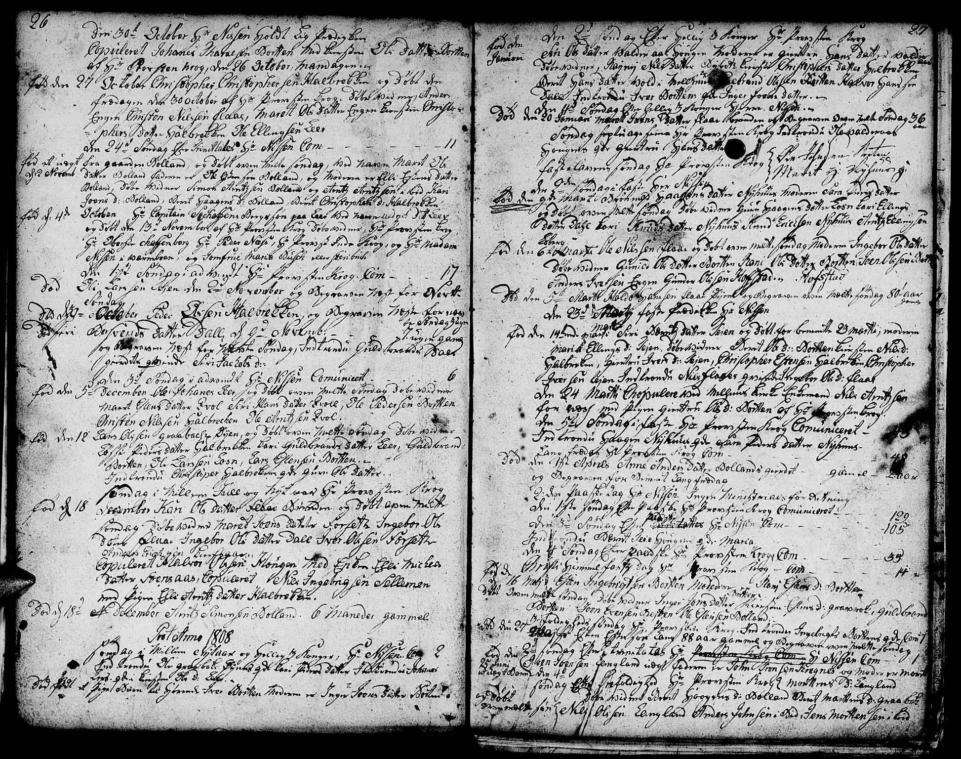SAT, Ministerialprotokoller, klokkerbøker og fødselsregistre - Sør-Trøndelag, 693/L1120: Klokkerbok nr. 693C01, 1799-1816, s. 26-27