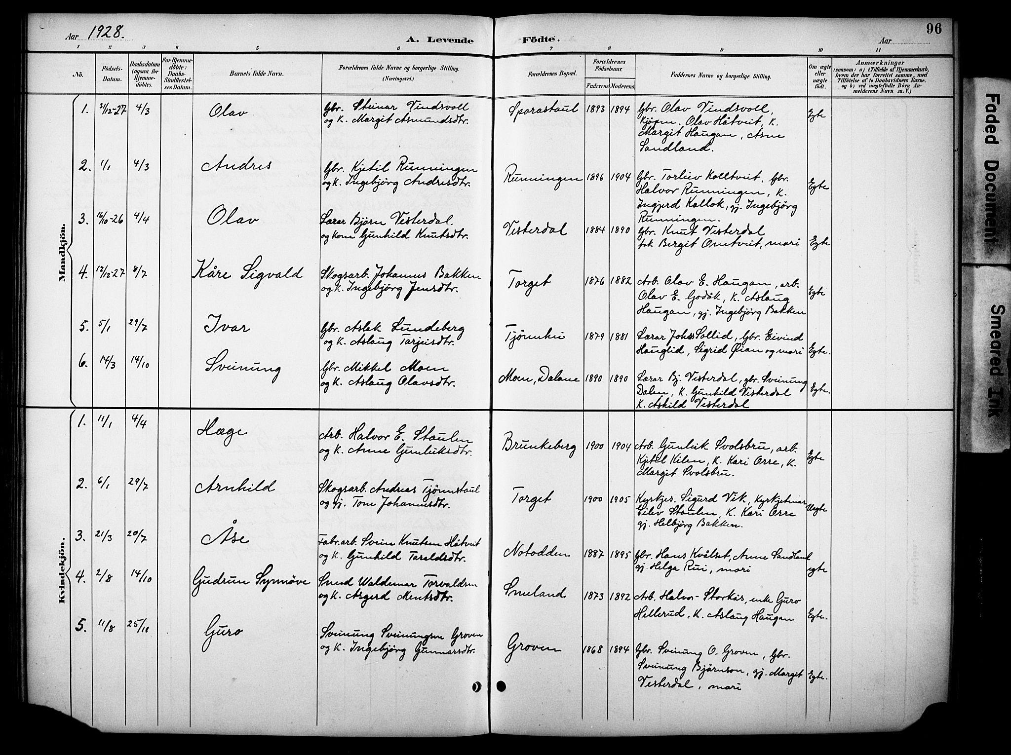 SAKO, Kviteseid kirkebøker, G/Gb/L0003: Klokkerbok nr. II 3, 1893-1933, s. 96