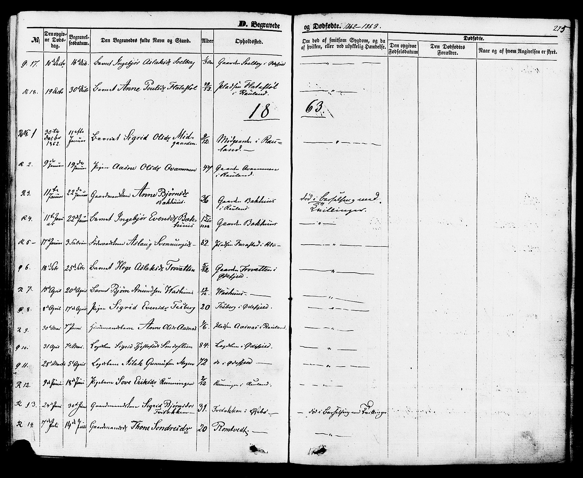 SAKO, Rauland kirkebøker, F/Fa/L0003: Ministerialbok nr. 3, 1859-1886, s. 275