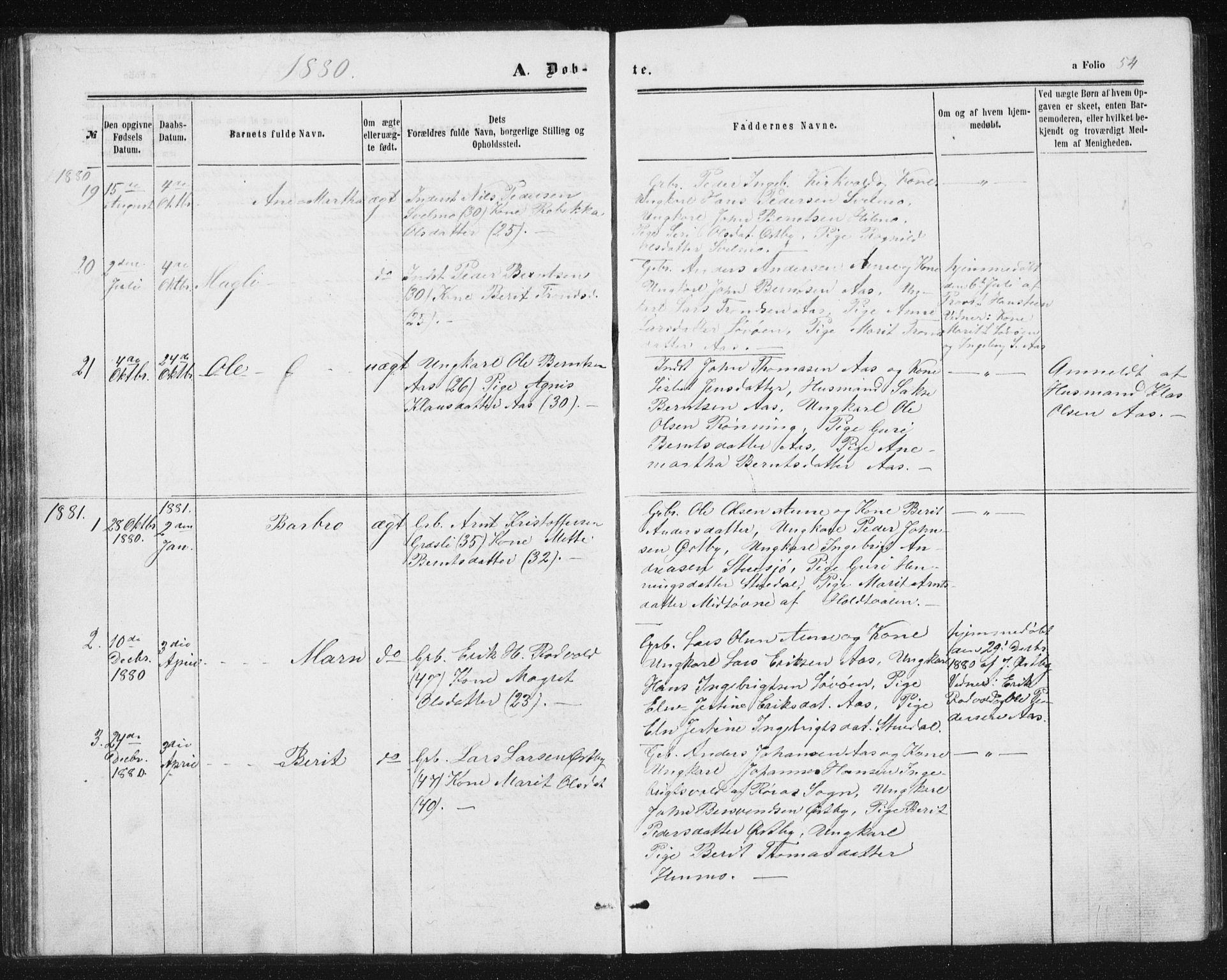 SAT, Ministerialprotokoller, klokkerbøker og fødselsregistre - Sør-Trøndelag, 698/L1166: Klokkerbok nr. 698C03, 1861-1887, s. 54