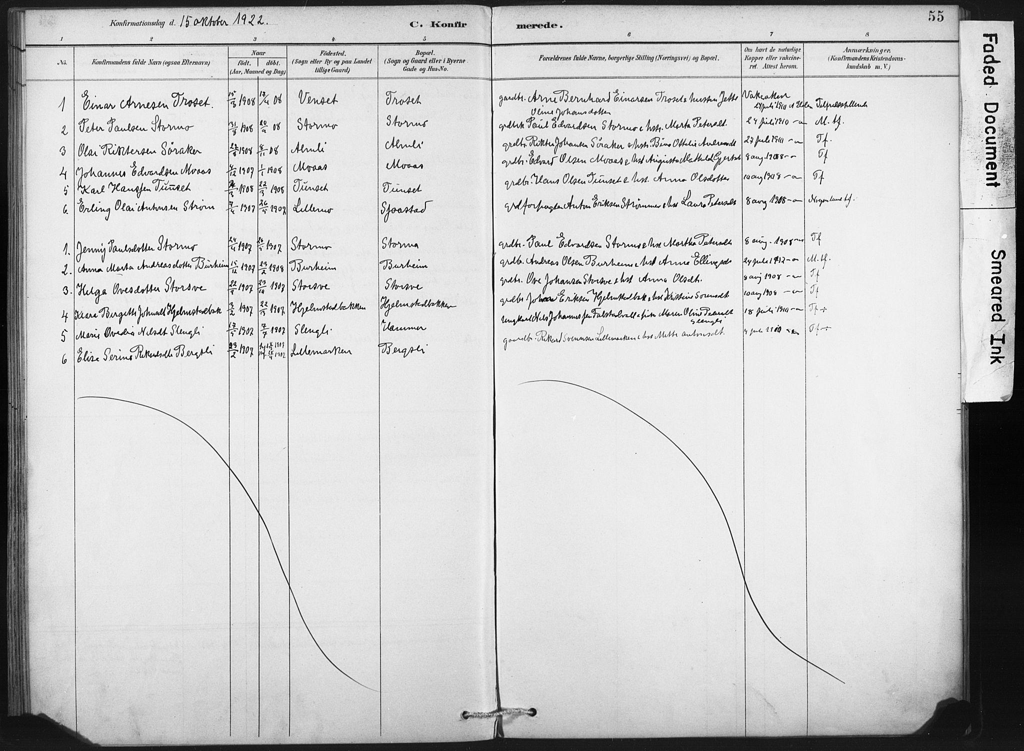 SAT, Ministerialprotokoller, klokkerbøker og fødselsregistre - Nord-Trøndelag, 718/L0175: Ministerialbok nr. 718A01, 1890-1923, s. 55