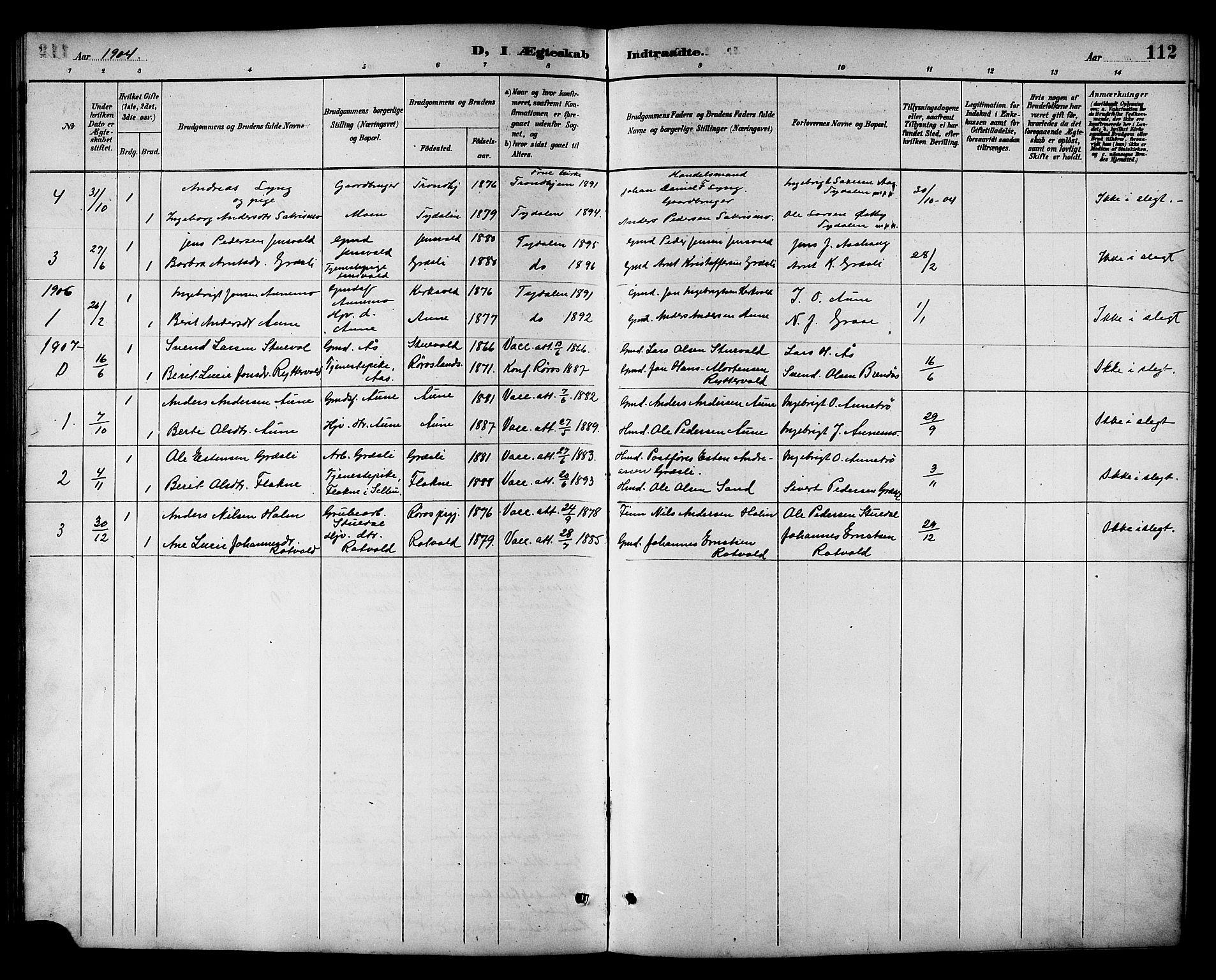SAT, Ministerialprotokoller, klokkerbøker og fødselsregistre - Sør-Trøndelag, 698/L1167: Klokkerbok nr. 698C04, 1888-1907, s. 112