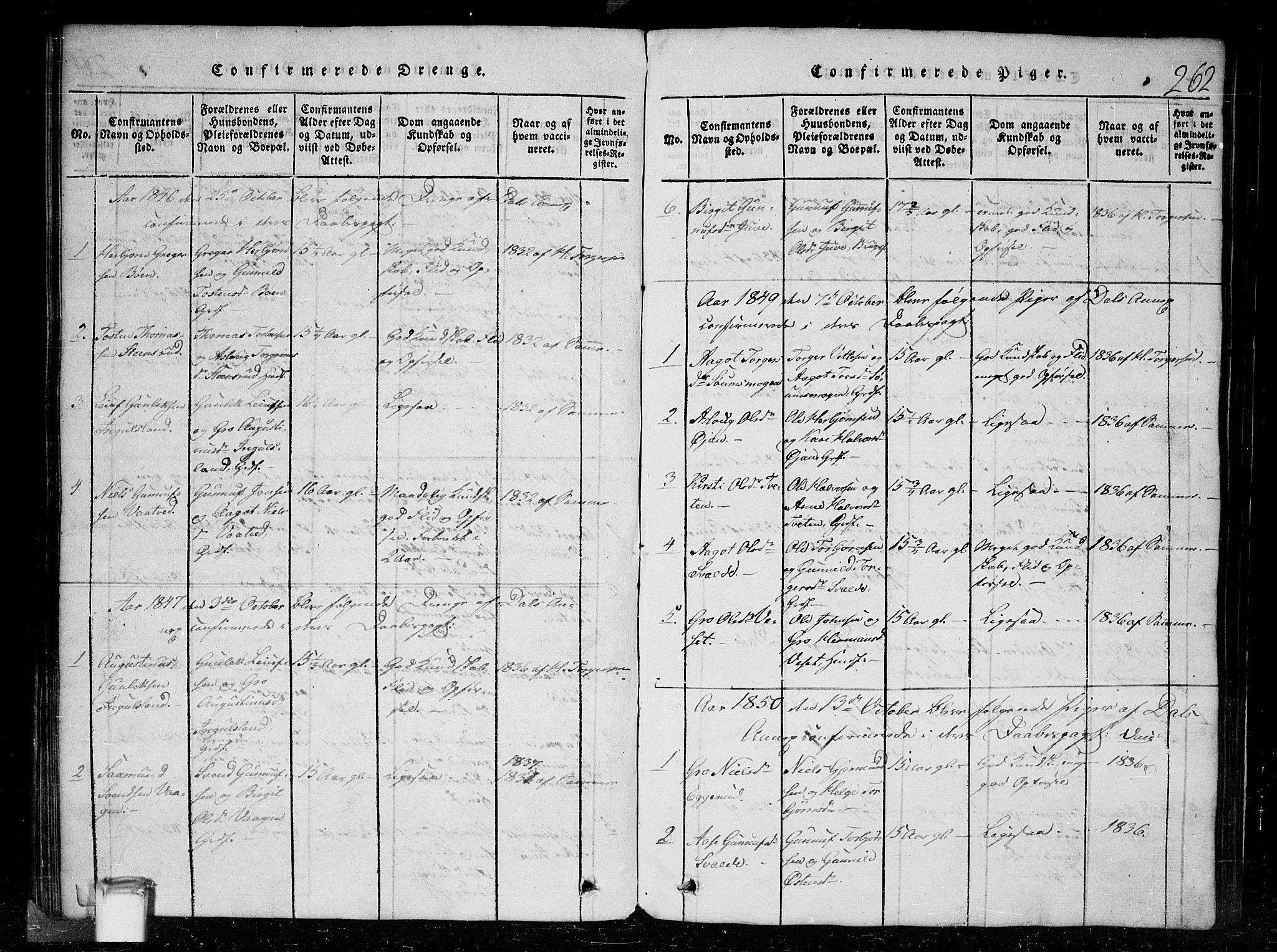 SAKO, Tinn kirkebøker, G/Gc/L0001: Klokkerbok nr. III 1, 1815-1879, s. 262