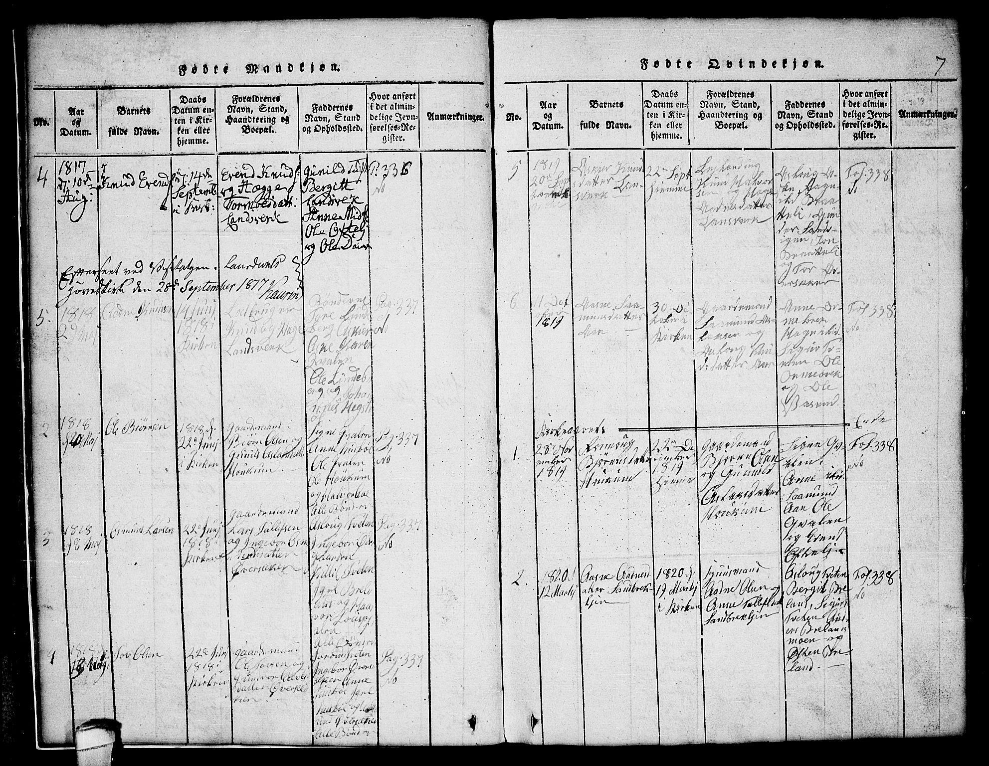 SAKO, Lårdal kirkebøker, G/Gc/L0001: Klokkerbok nr. III 1, 1815-1854, s. 7