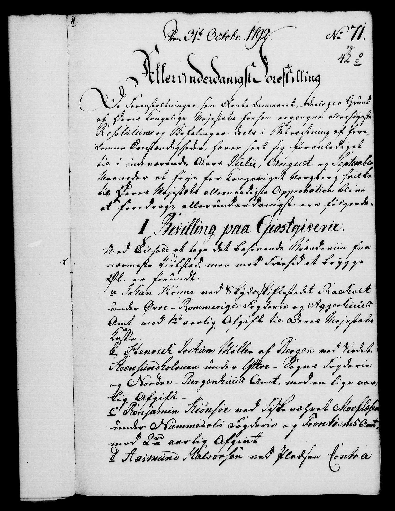 RA, Rentekammeret, Kammerkanselliet, G/Gf/Gfa/L0074: Norsk relasjons- og resolusjonsprotokoll (merket RK 52.74), 1792, s. 405
