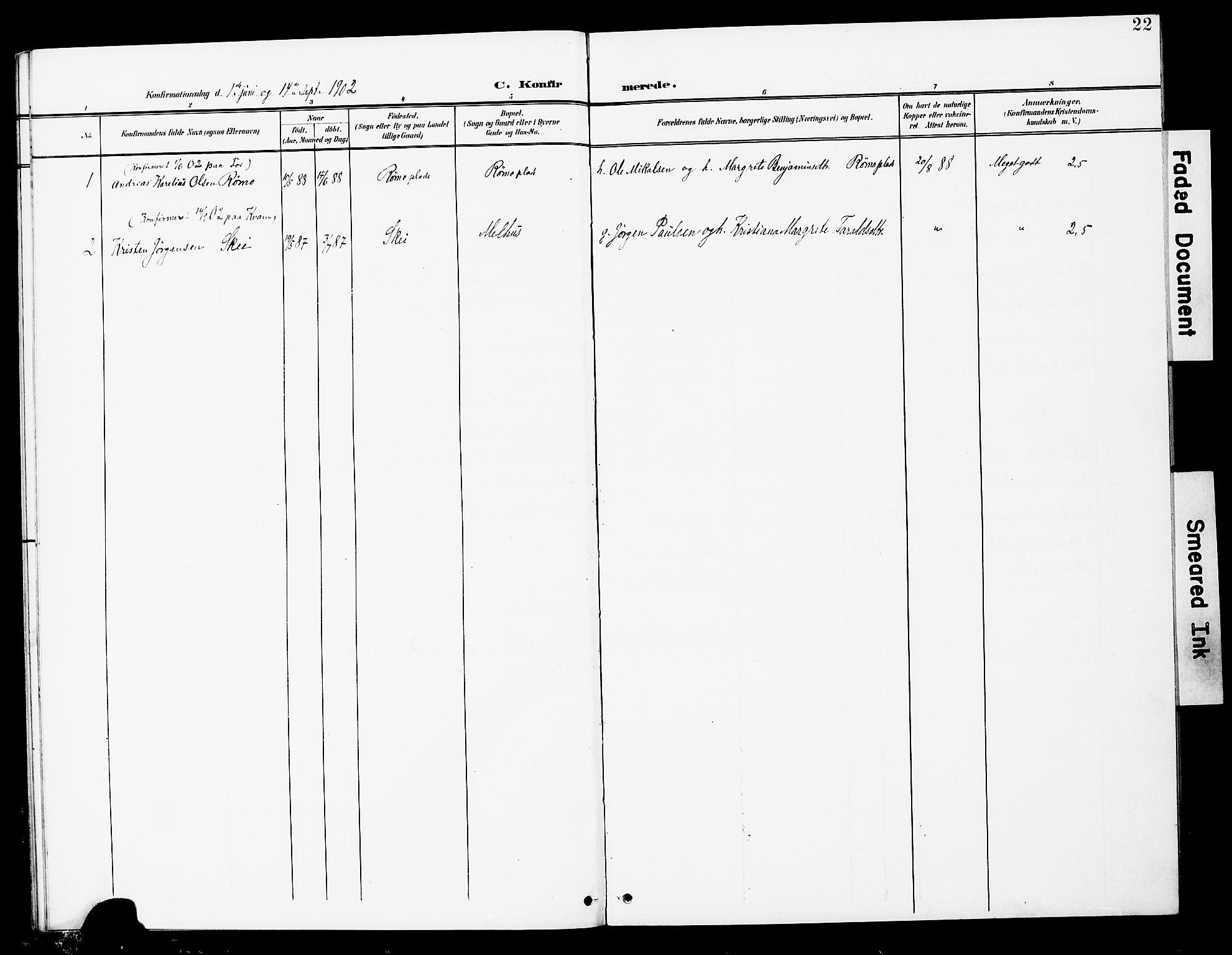 SAT, Ministerialprotokoller, klokkerbøker og fødselsregistre - Nord-Trøndelag, 748/L0464: Ministerialbok nr. 748A01, 1900-1908, s. 22