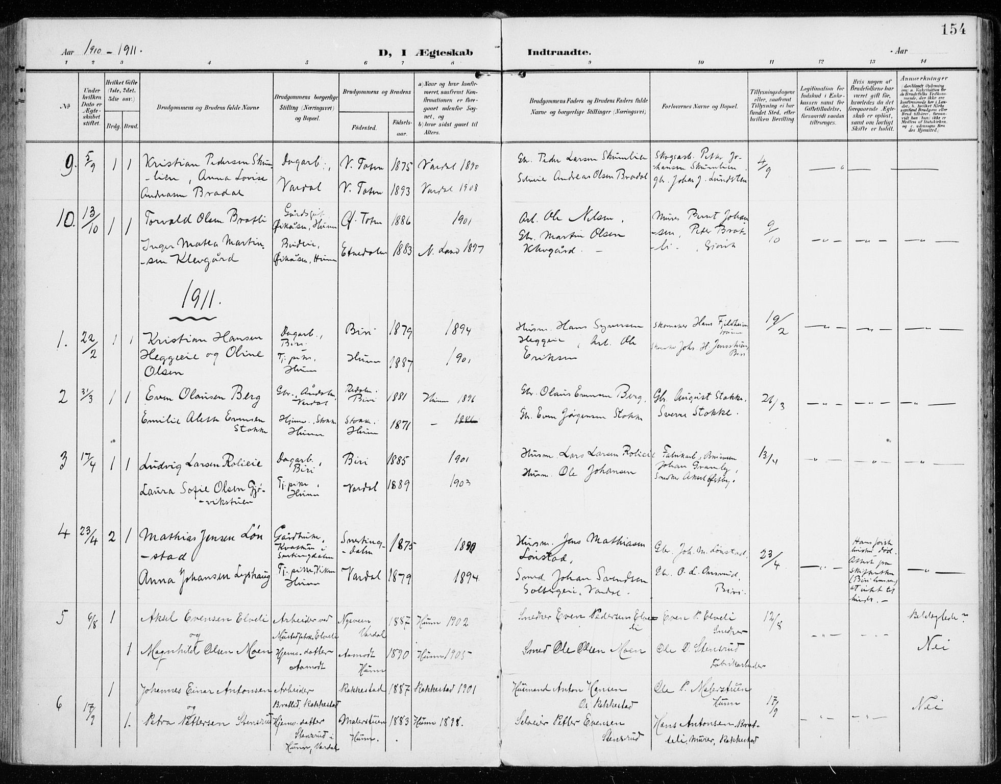 SAH, Vardal prestekontor, H/Ha/Haa/L0016: Ministerialbok nr. 16, 1904-1916, s. 154