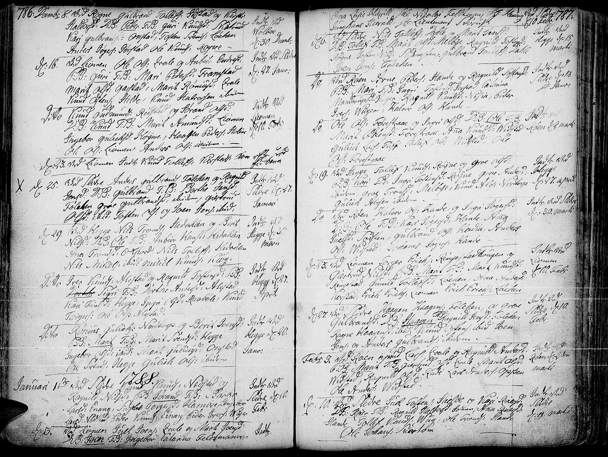 SAH, Slidre prestekontor, Ministerialbok nr. 1, 1724-1814, s. 786-787