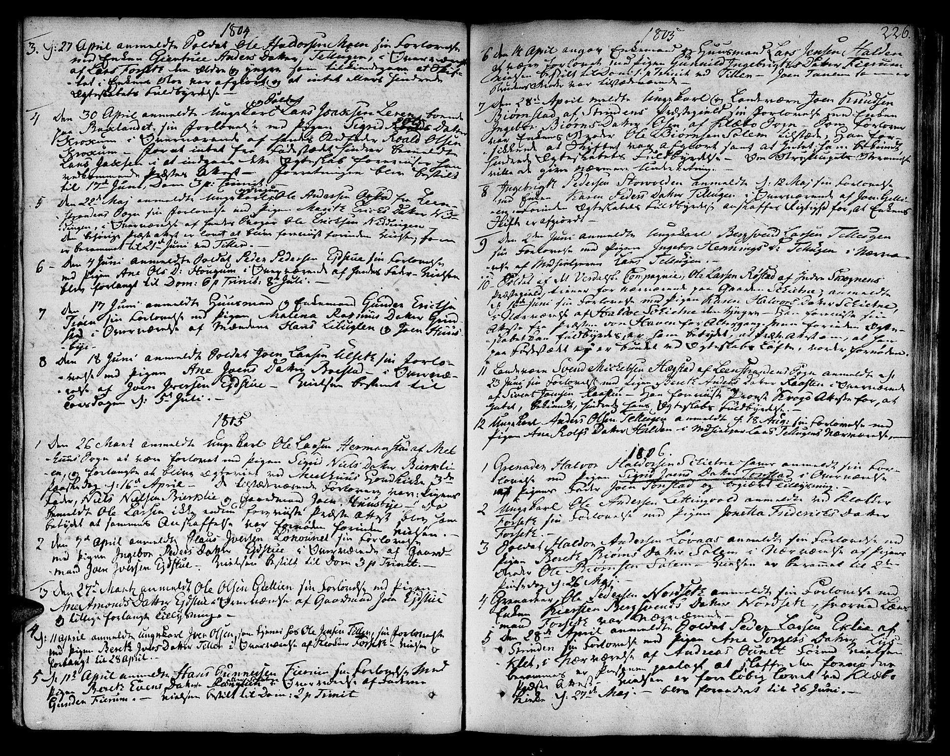 SAT, Ministerialprotokoller, klokkerbøker og fødselsregistre - Sør-Trøndelag, 618/L0438: Ministerialbok nr. 618A03, 1783-1815, s. 226