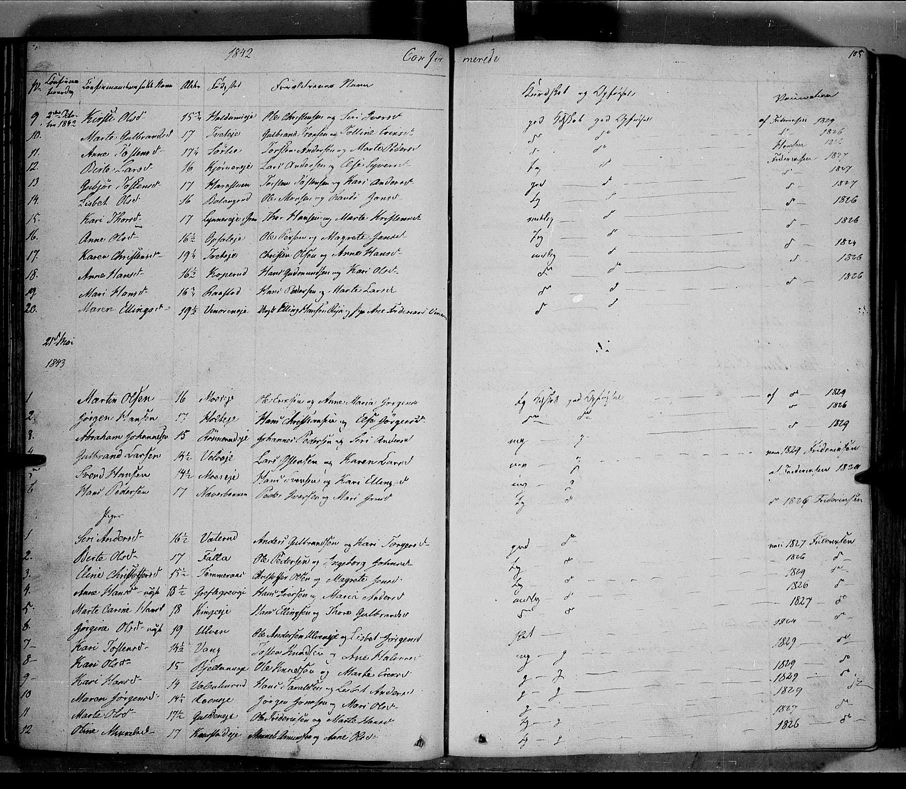 SAH, Jevnaker prestekontor, Ministerialbok nr. 6, 1837-1857, s. 105