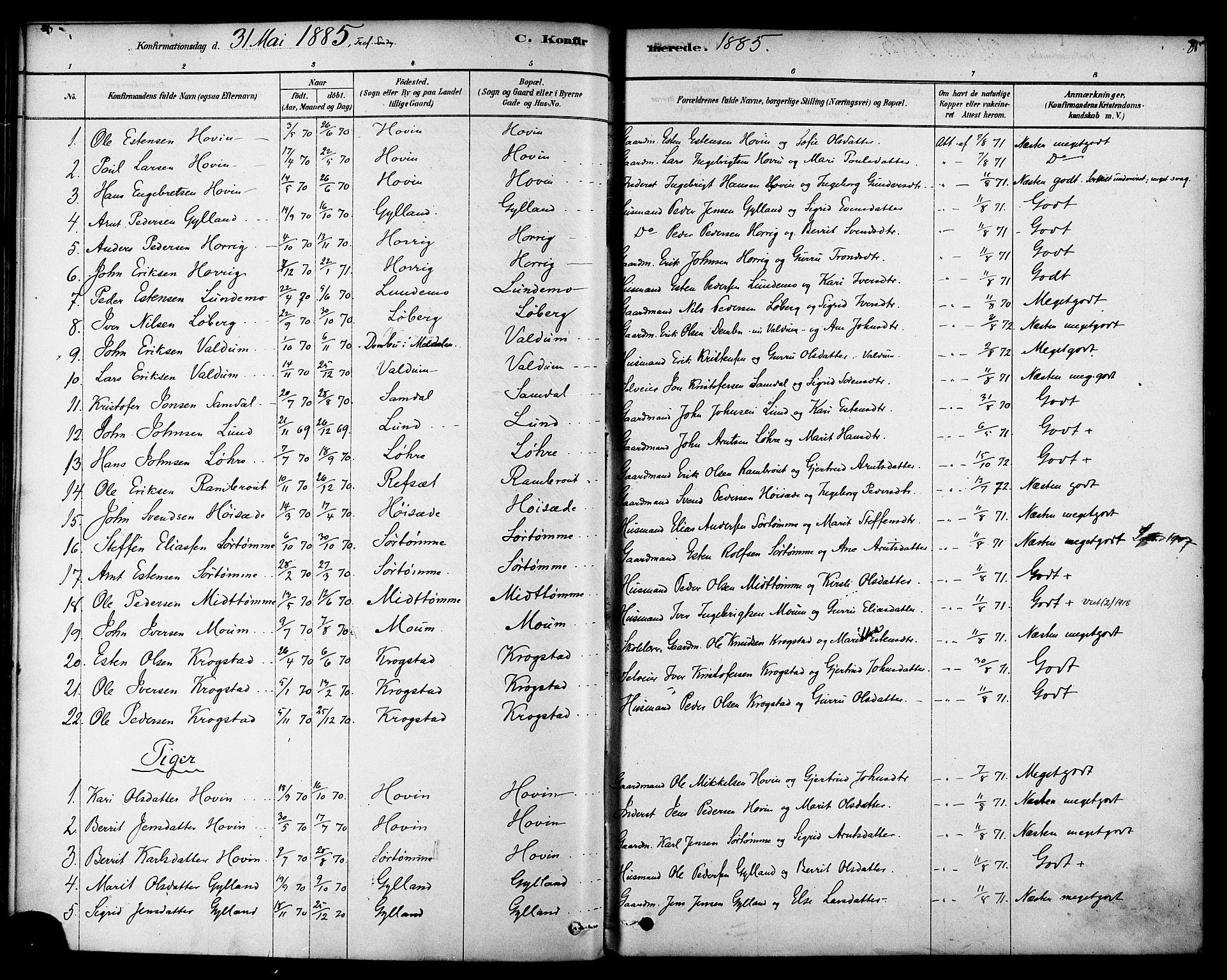 SAT, Ministerialprotokoller, klokkerbøker og fødselsregistre - Sør-Trøndelag, 692/L1105: Ministerialbok nr. 692A05, 1878-1890, s. 85