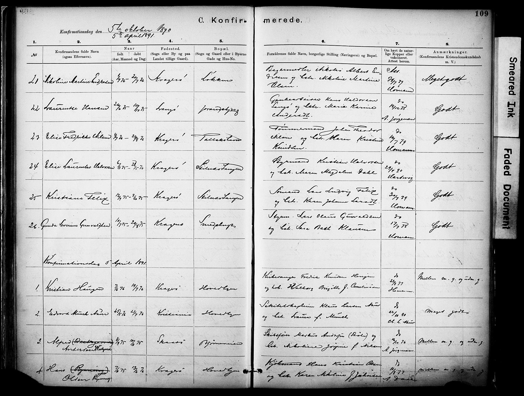 SAKO, Kragerø kirkebøker, F/Fa/L0012: Ministerialbok nr. I 12, 1880-1904, s. 109