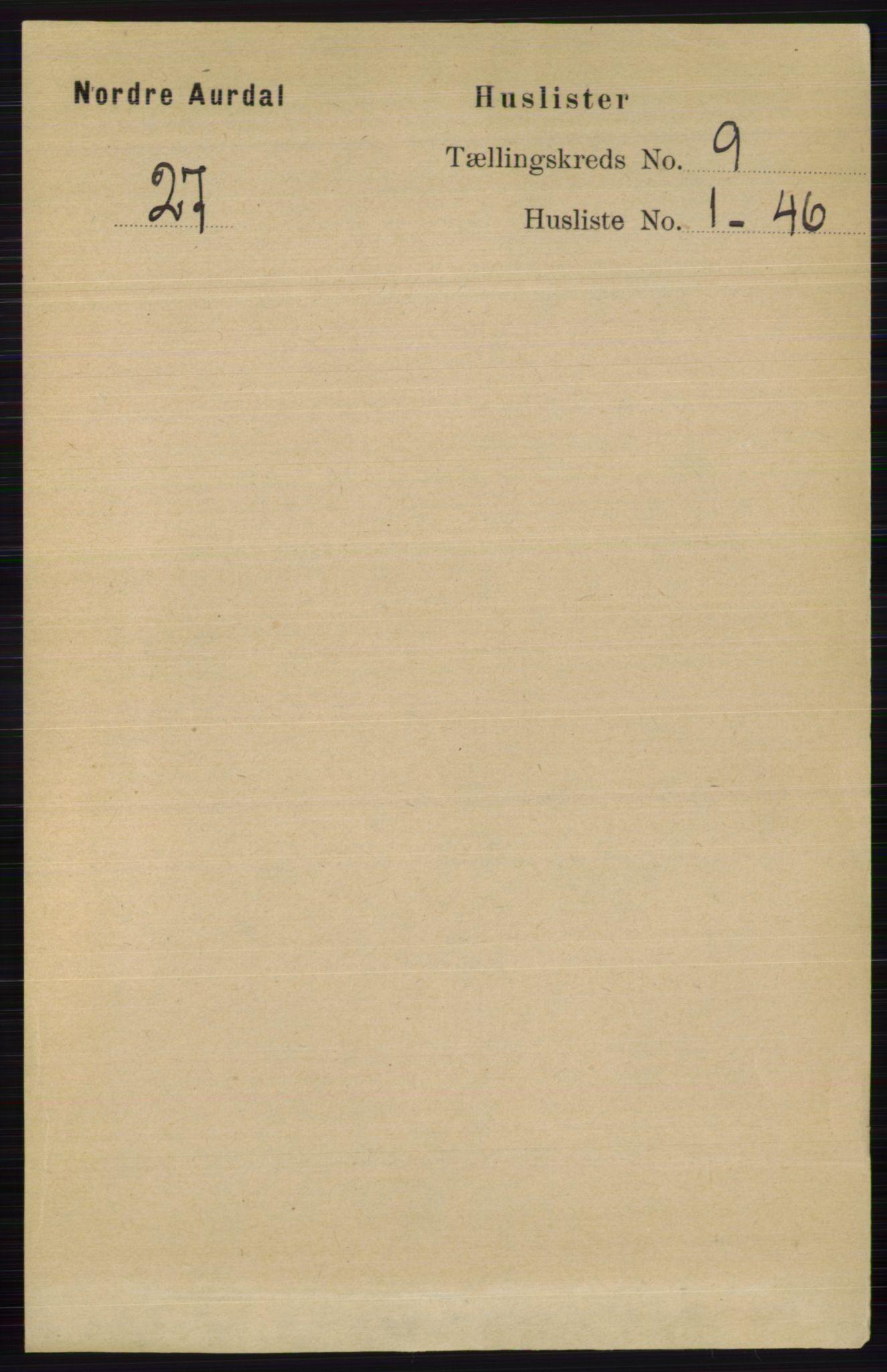 RA, Folketelling 1891 for 0542 Nord-Aurdal herred, 1891, s. 3367