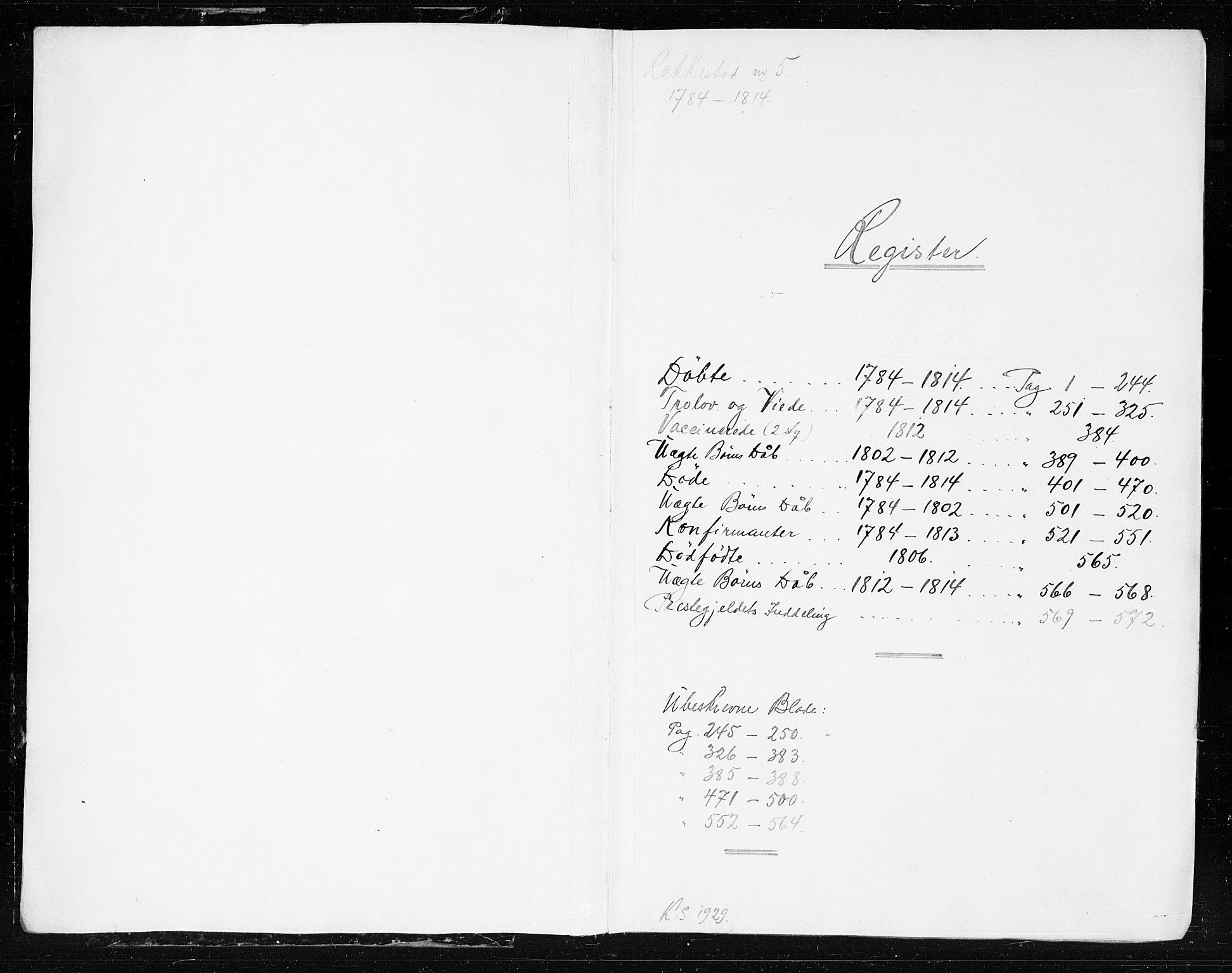 SAO, Rakkestad prestekontor Kirkebøker, F/Fa/L0005: Ministerialbok nr. I 5, 1784-1814