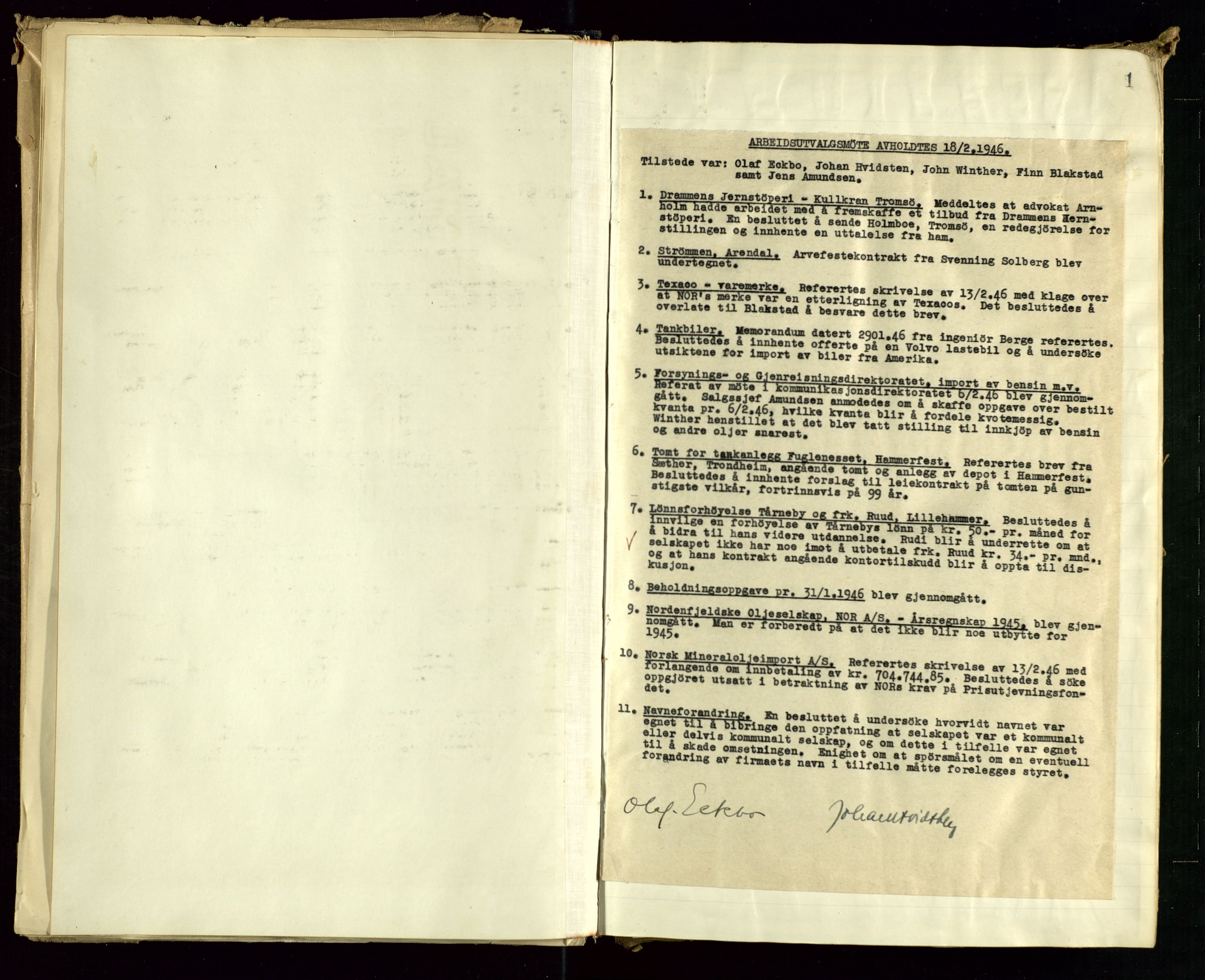 SAST, PA 1514 - Sporveienes Bensindepot, Norsk Oljeraffineri A/S, A/L0001: Styreprotokoll. Forhandlingsprotokoll Arbeidsutvaget, 1946-1951, s. 7