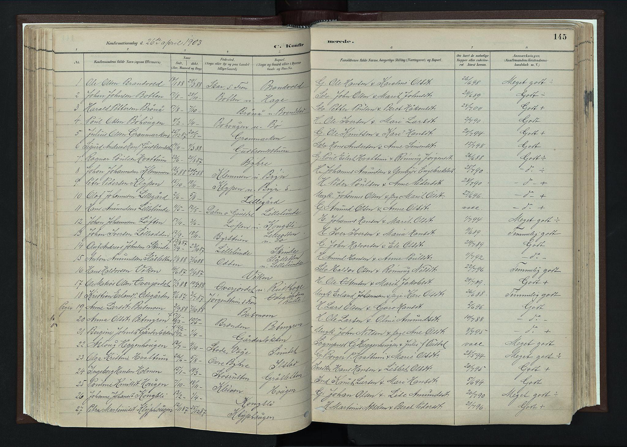 SAH, Nord-Fron prestekontor, Ministerialbok nr. 4, 1884-1914, s. 145