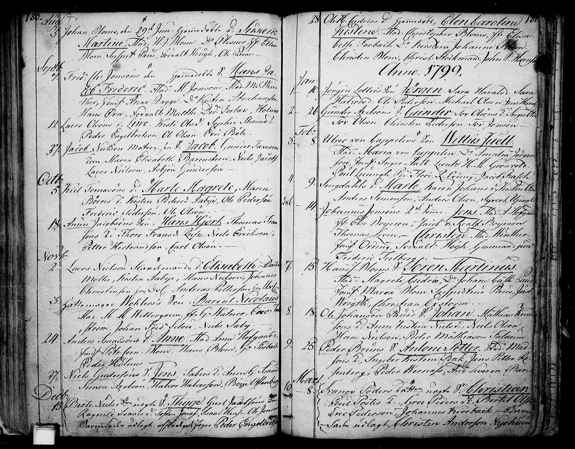 SAKO, Skien kirkebøker, F/Fa/L0004: Ministerialbok nr. 4, 1792-1814, s. 180-181