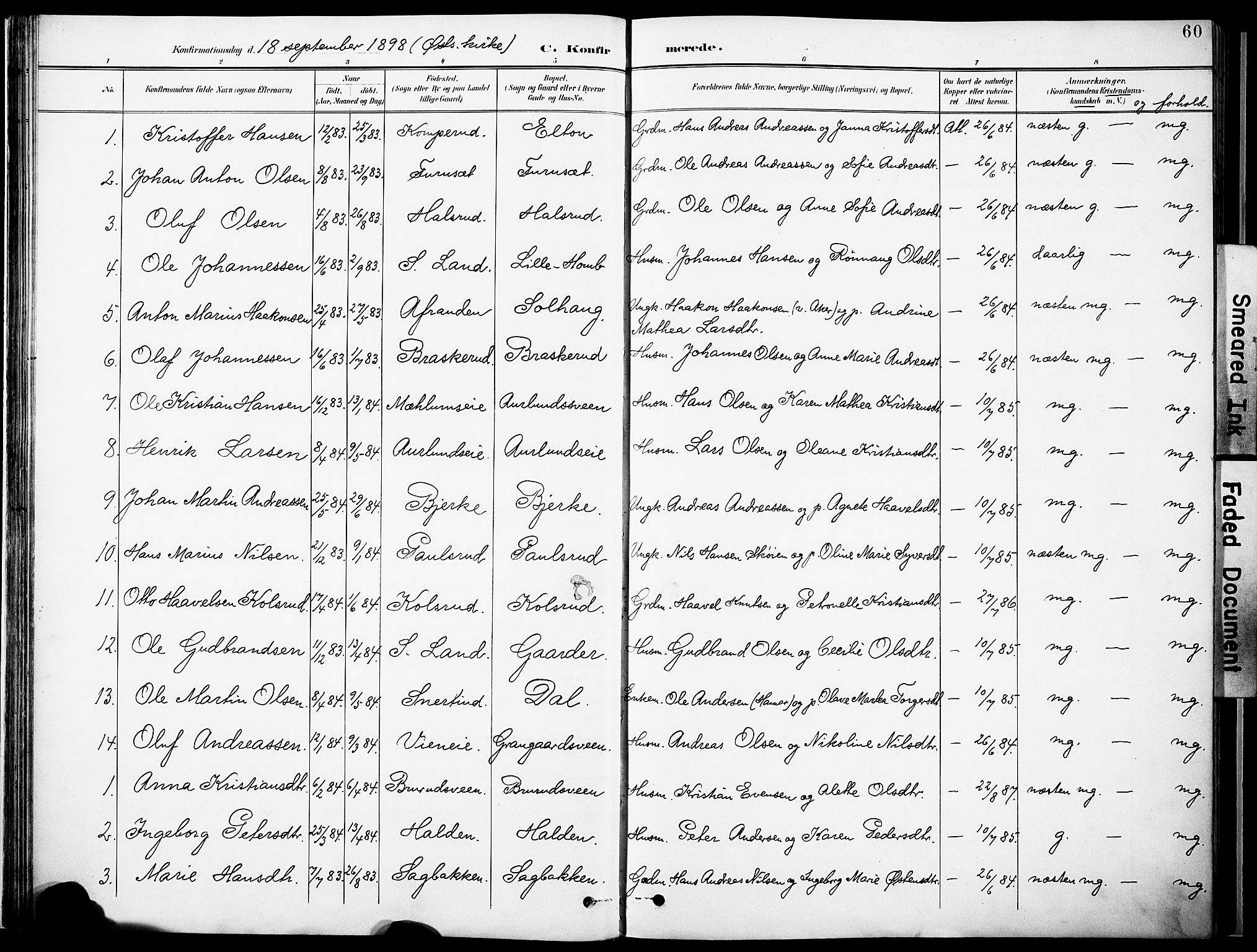SAH, Nordre Land prestekontor, Ministerialbok nr. 6, 1897-1914, s. 60