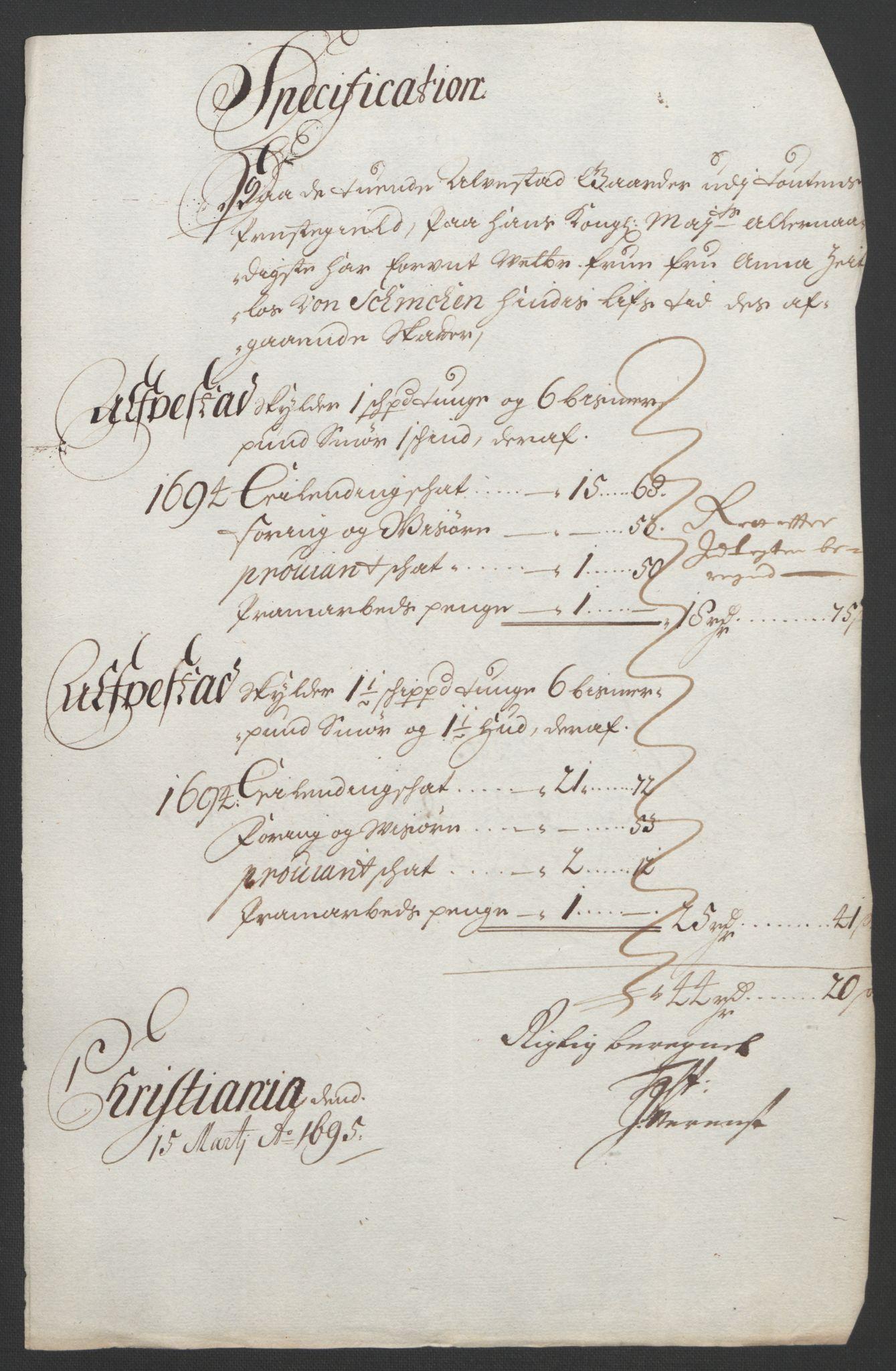 RA, Rentekammeret inntil 1814, Reviderte regnskaper, Fogderegnskap, R18/L1292: Fogderegnskap Hadeland, Toten og Valdres, 1693-1694, s. 429