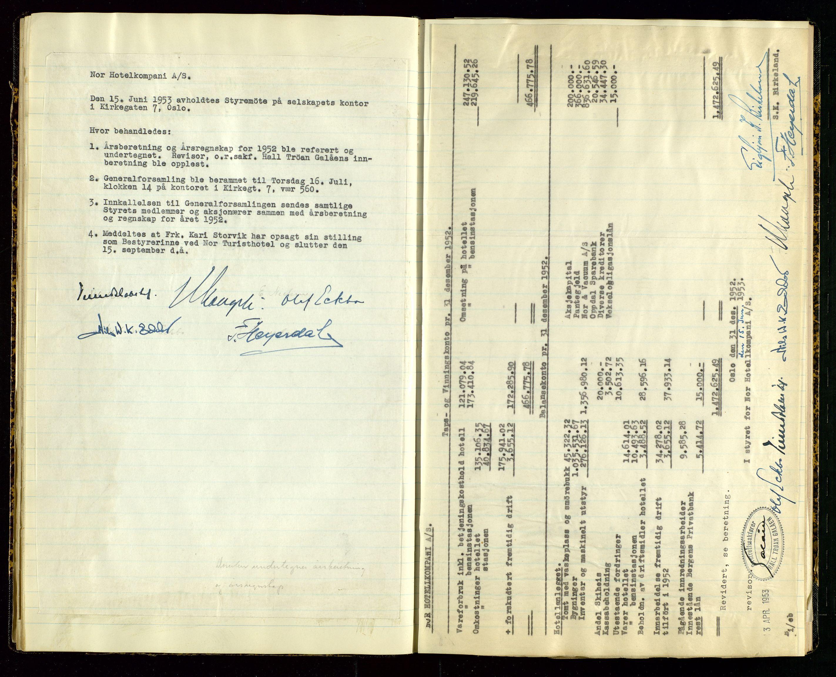 SAST, PA 1516 - Nor Hotellkompani A/S, A/L0001: Referatprotokoll, 1948-1855, s. 30