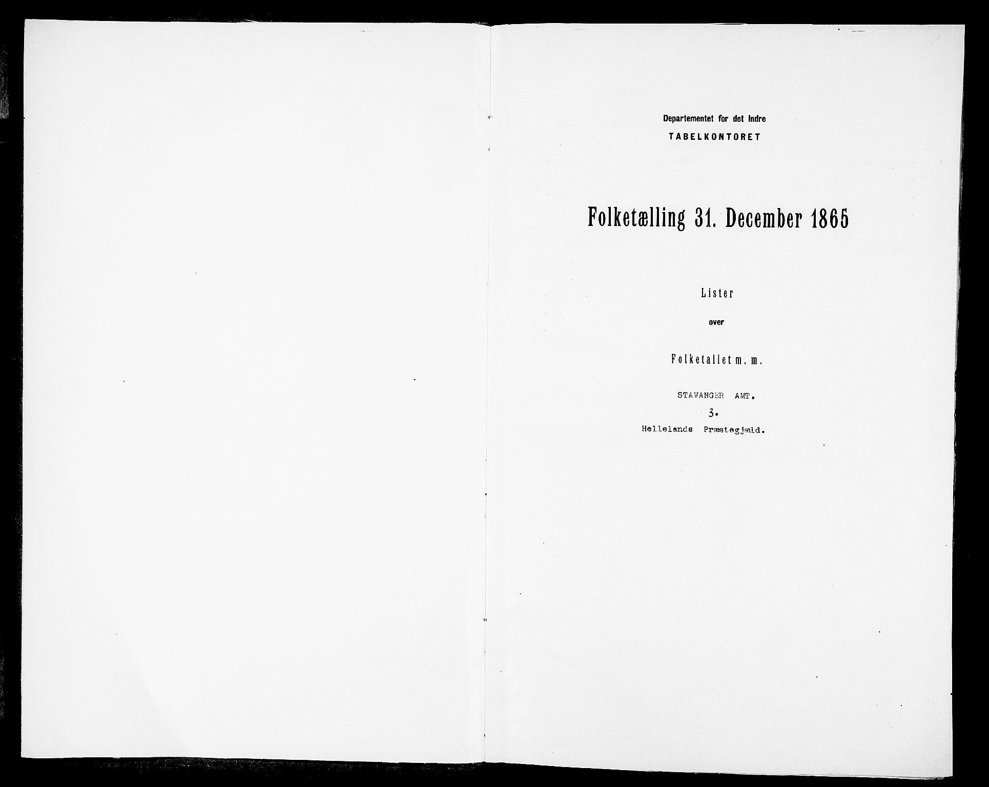 RA, Folketelling 1865 for 1115P Helleland prestegjeld, 1865, s. 3