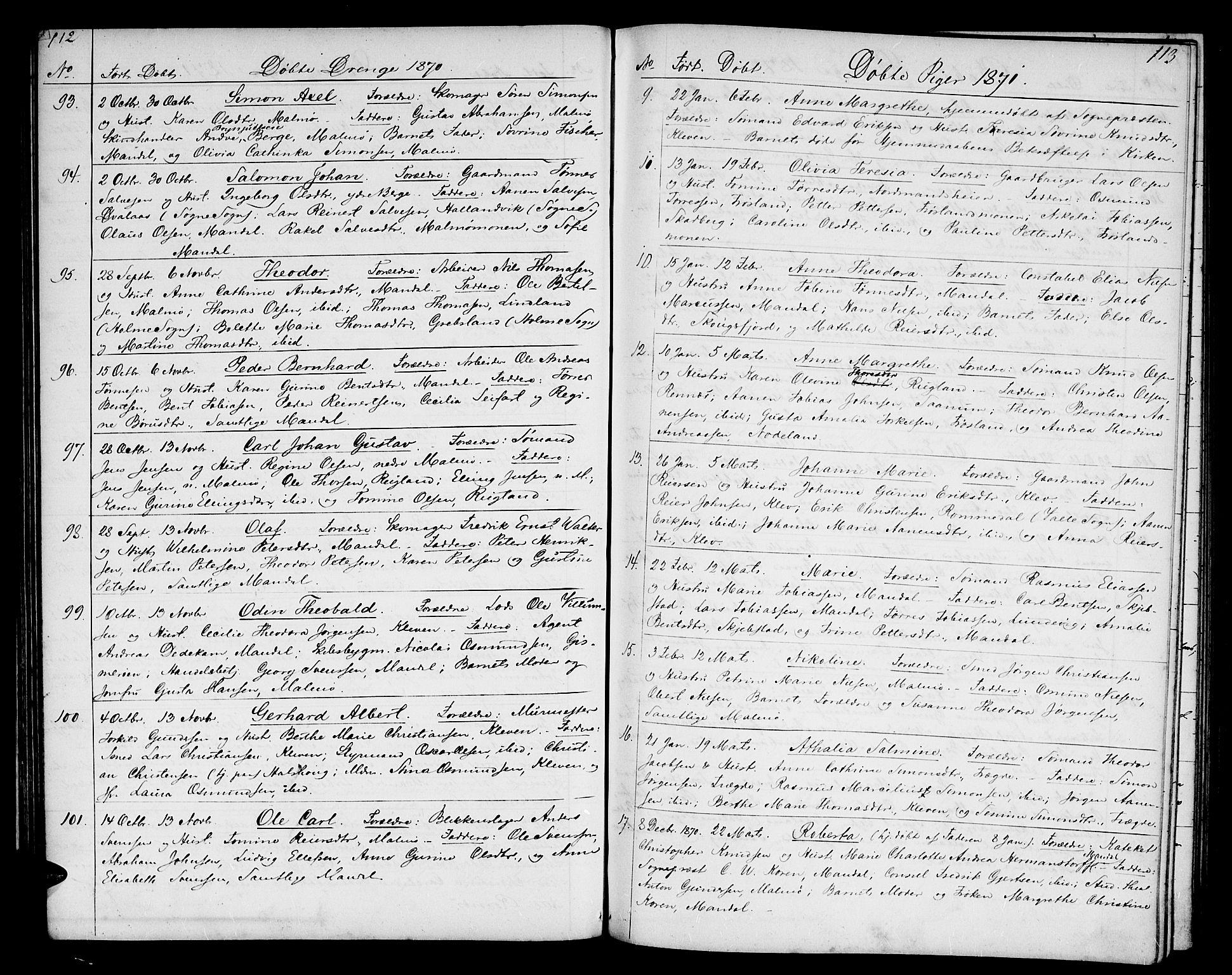 SAK, Mandal sokneprestkontor, F/Fb/Fba/L0009: Klokkerbok nr. B 3, 1867-1877, s. 112-113
