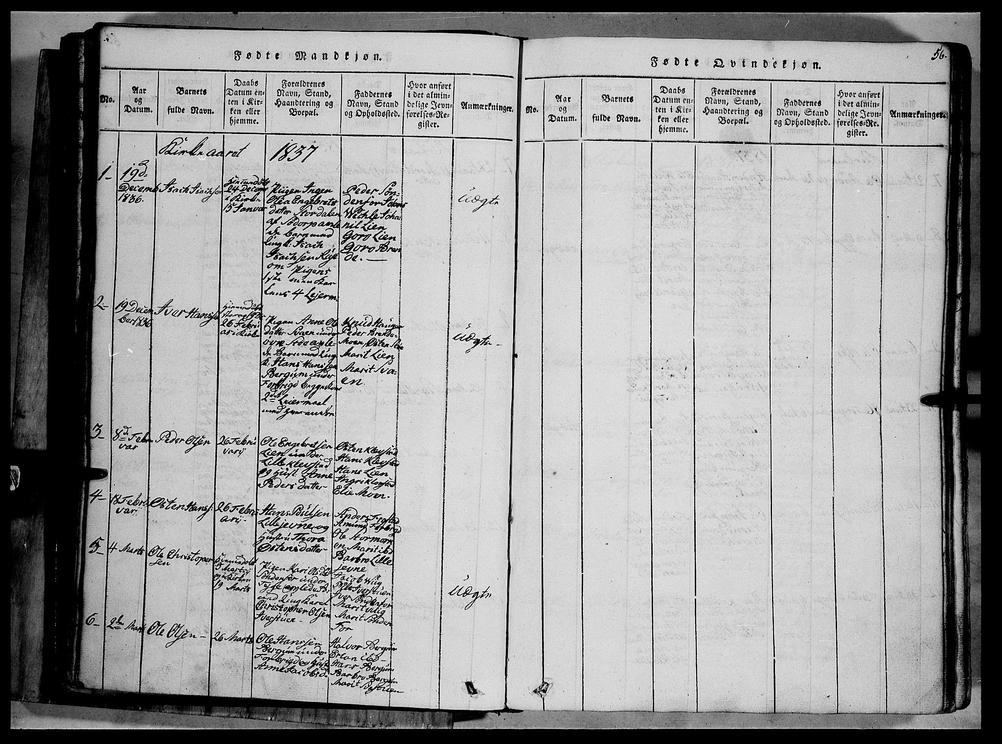 SAH, Fron prestekontor, H/Ha/Hab/L0002: Klokkerbok nr. 2, 1816-1850, s. 56