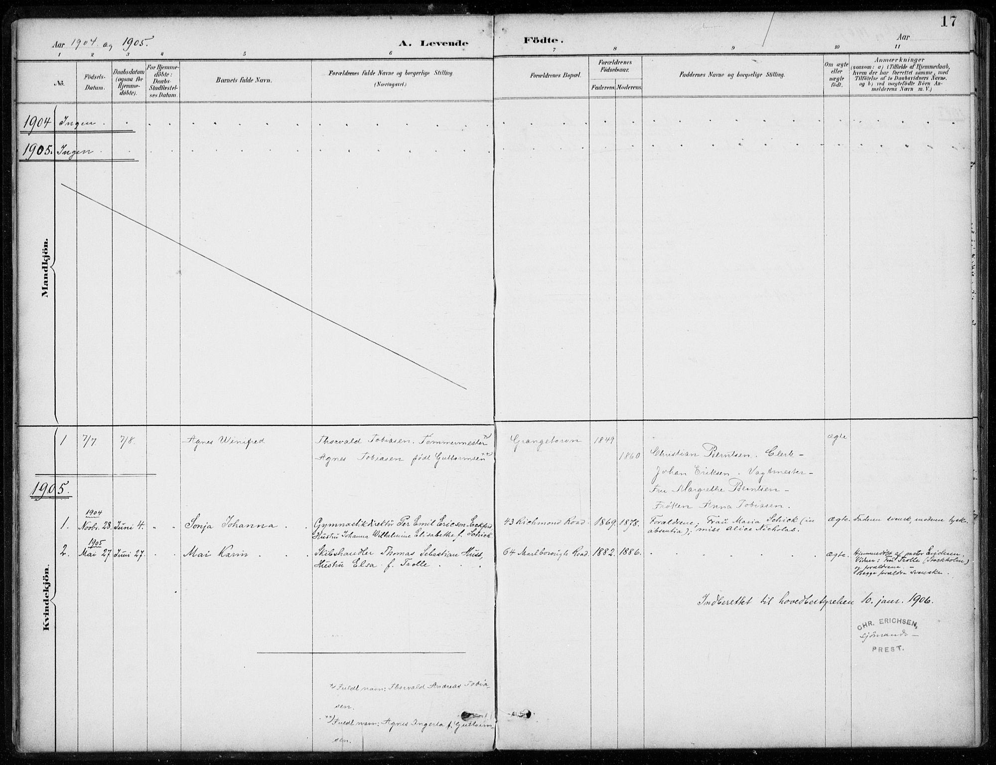 SAB, Den Norske Sjømannsmisjon i utlandet*, Ministerialbok nr. A 2, 1887-1932, s. 17