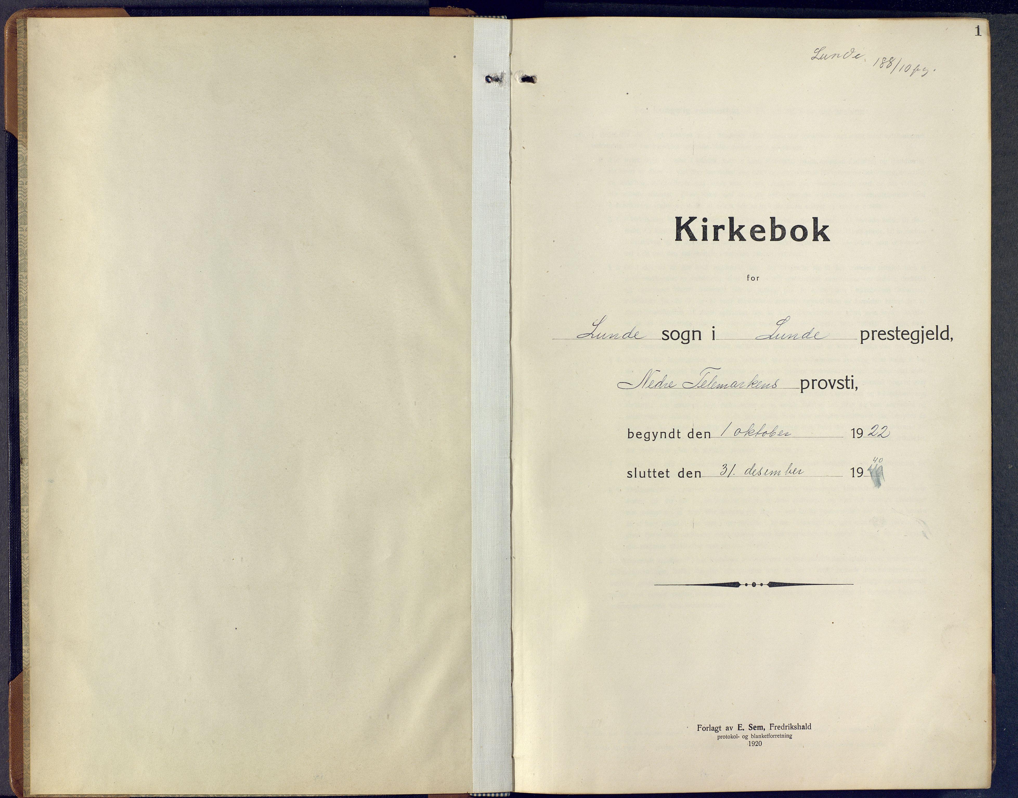 SAKO, Lunde kirkebøker, F/Fa/L0006: Ministerialbok nr. I 6, 1922-1940, s. 1