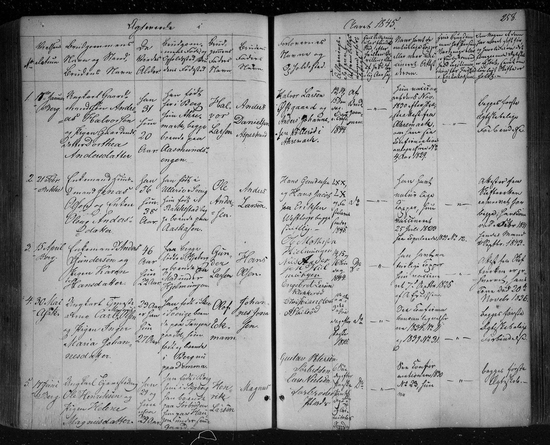 SAO, Berg prestekontor Kirkebøker, F/Fa/L0004: Ministerialbok nr. I 4, 1843-1860, s. 258
