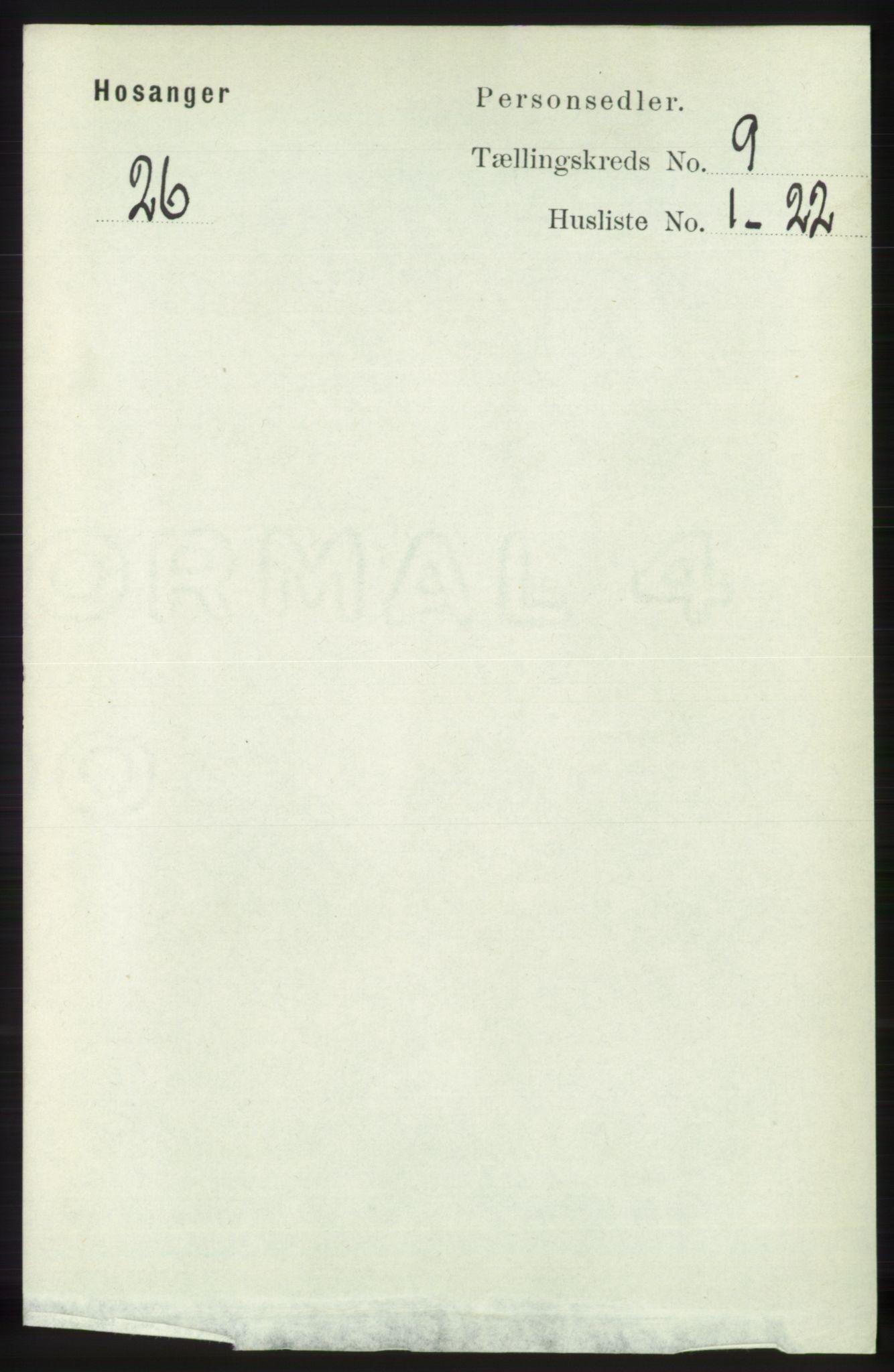 RA, Folketelling 1891 for 1253 Hosanger herred, 1891, s. 3292