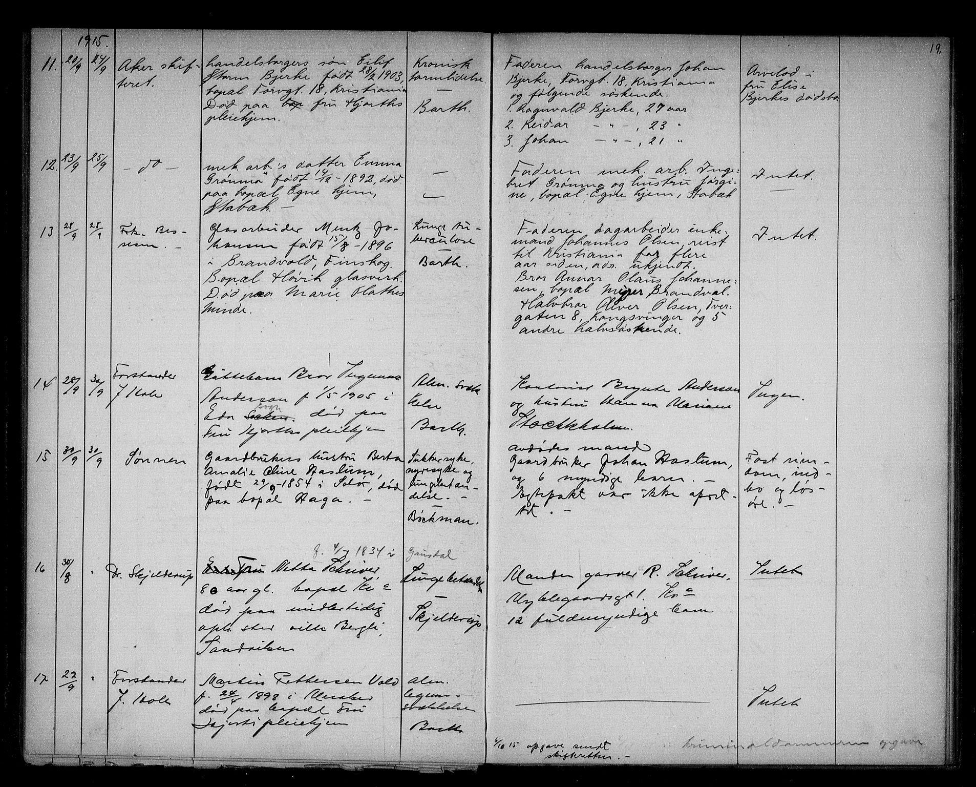 SAO, Bærum lensmannskontor, H/Ha/Haa/L0003: Dødsanmeldelsesprotokoll, 1914-1918, s. 19