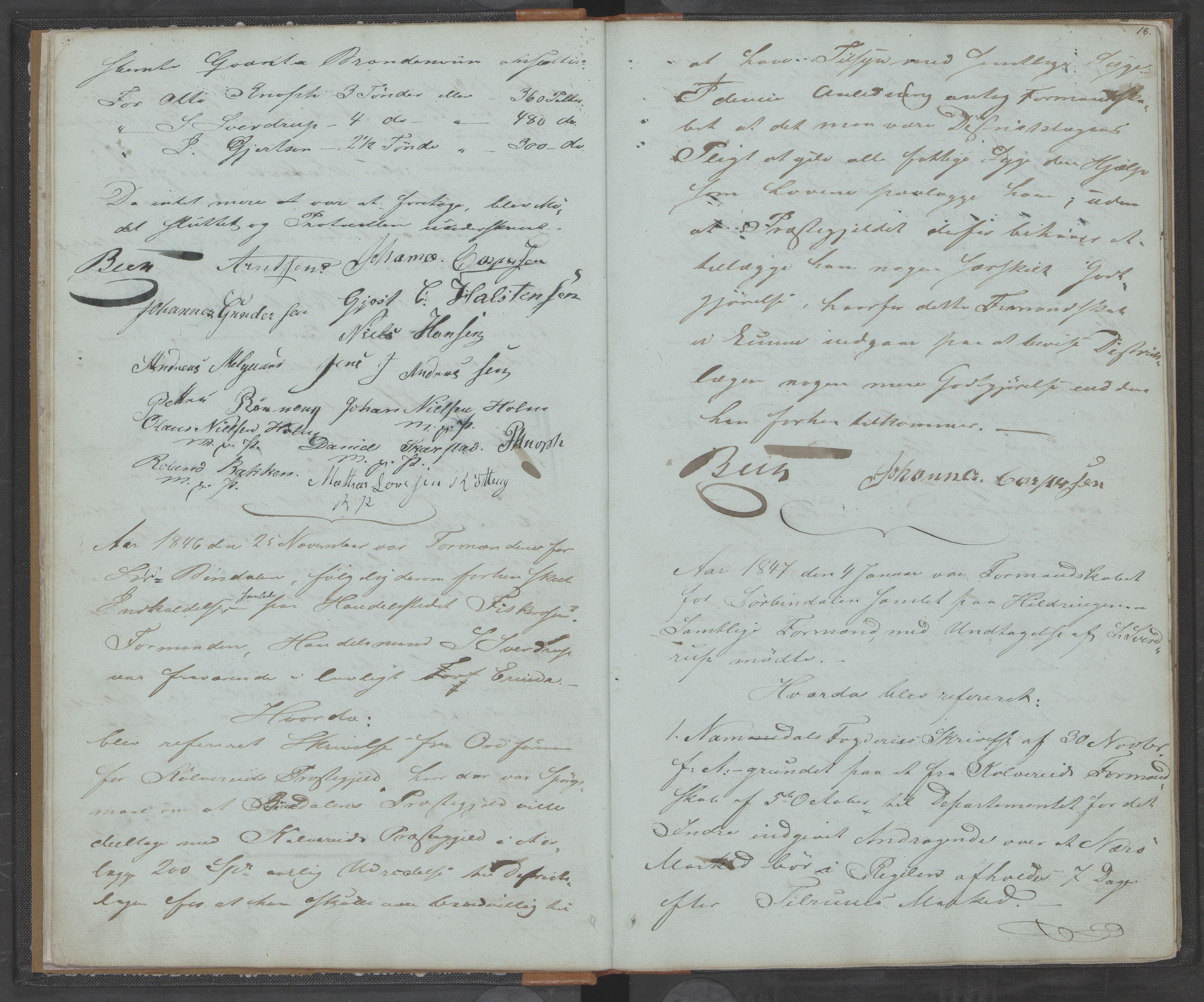 AIN, Bindal kommune. Formannskapet, A/Aa/L0000a: Møtebok, 1843-1881, s. 18