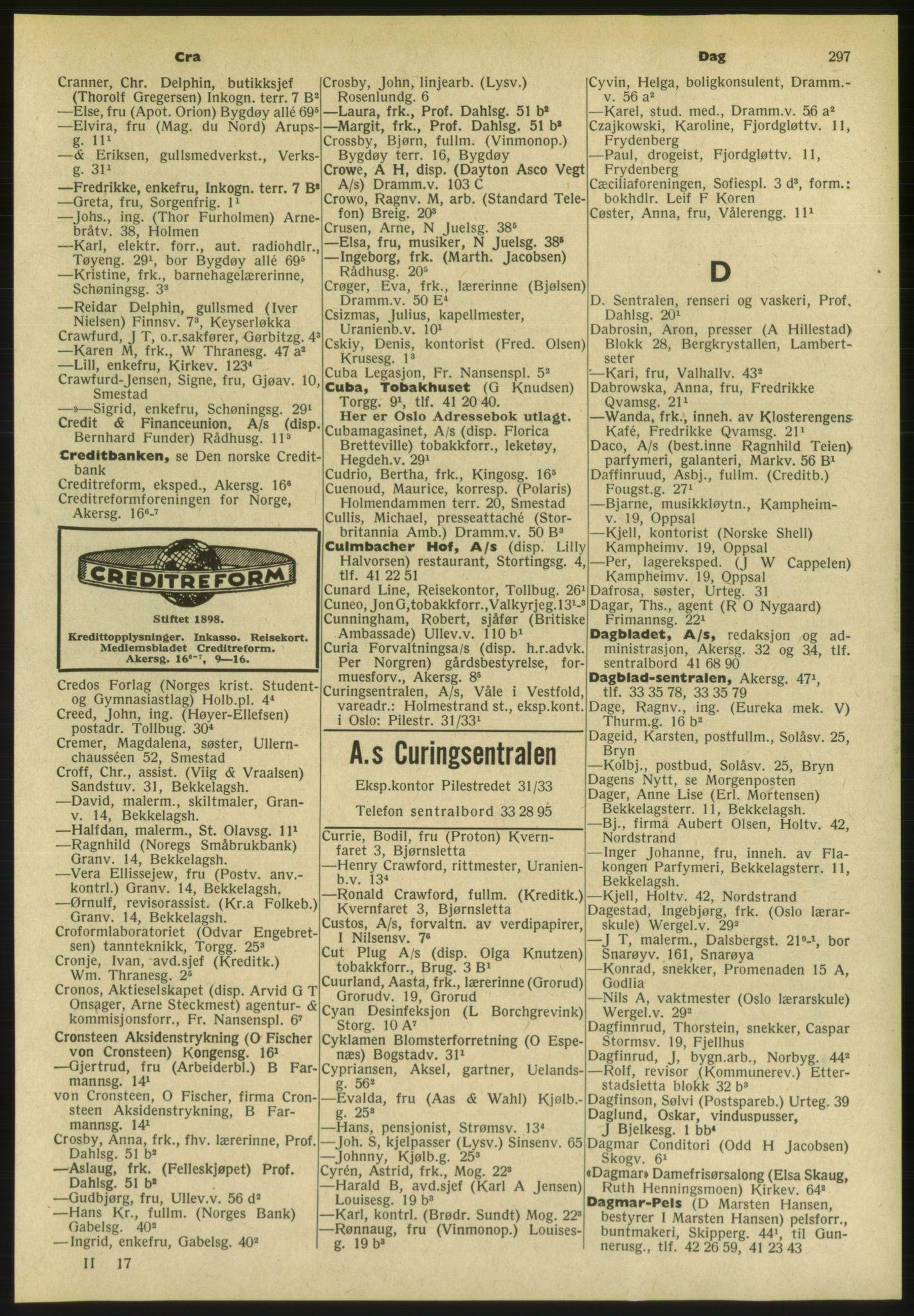 PUBL, Kristiania/Oslo adressebok, 1954, s. 297