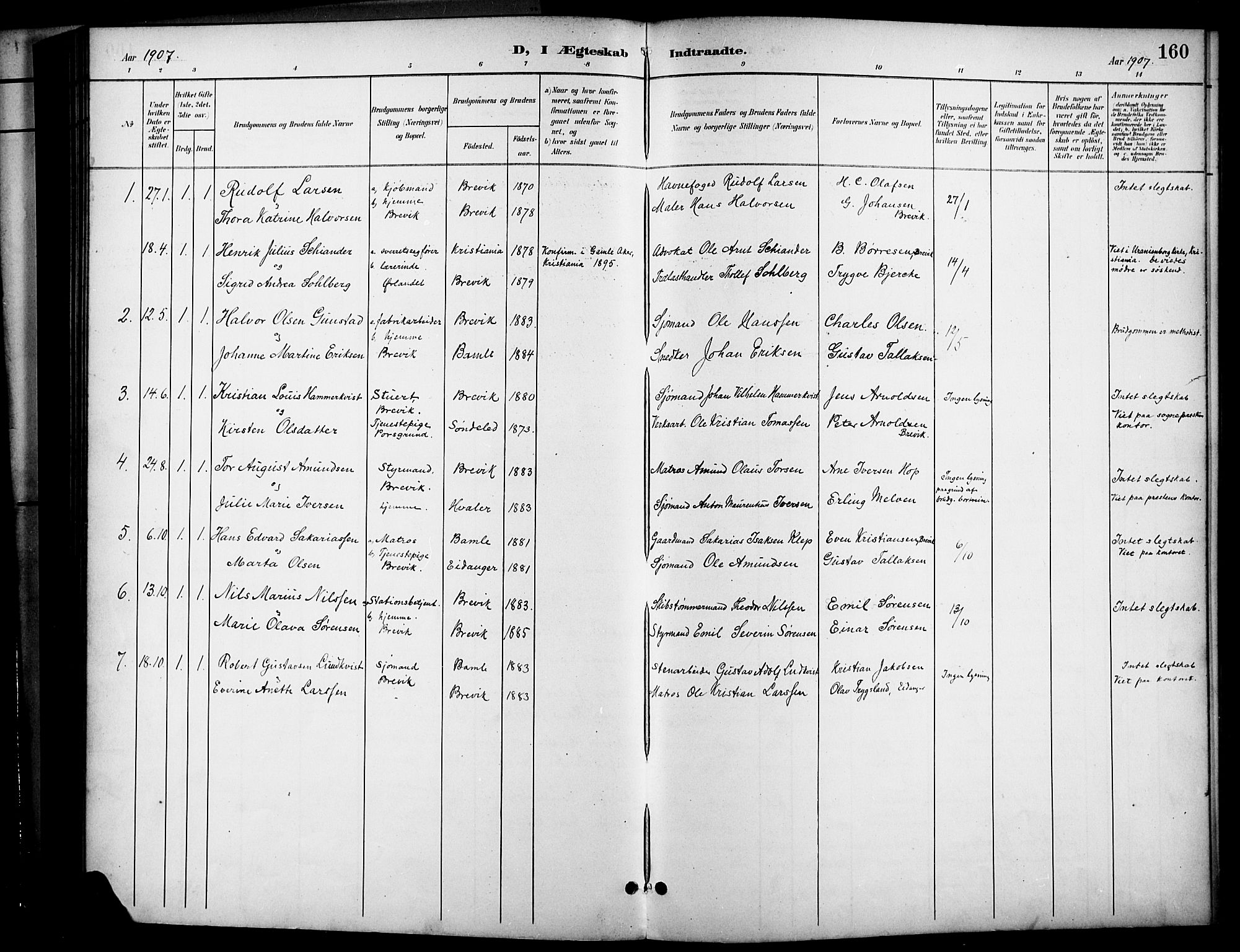 SAKO, Brevik kirkebøker, G/Ga/L0005: Klokkerbok nr. 5, 1901-1924, s. 160