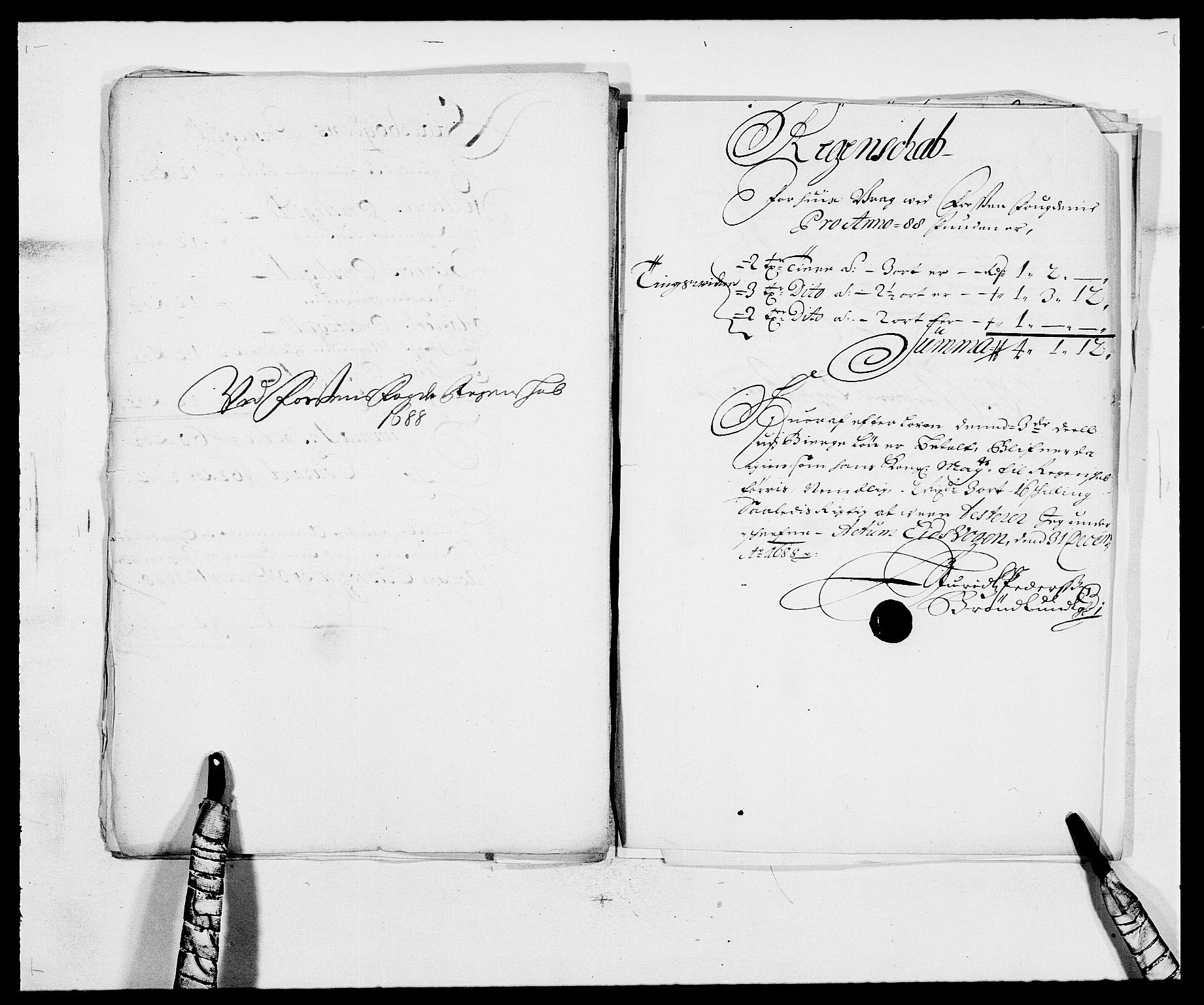 RA, Rentekammeret inntil 1814, Reviderte regnskaper, Fogderegnskap, R57/L3846: Fogderegnskap Fosen, 1688, s. 192