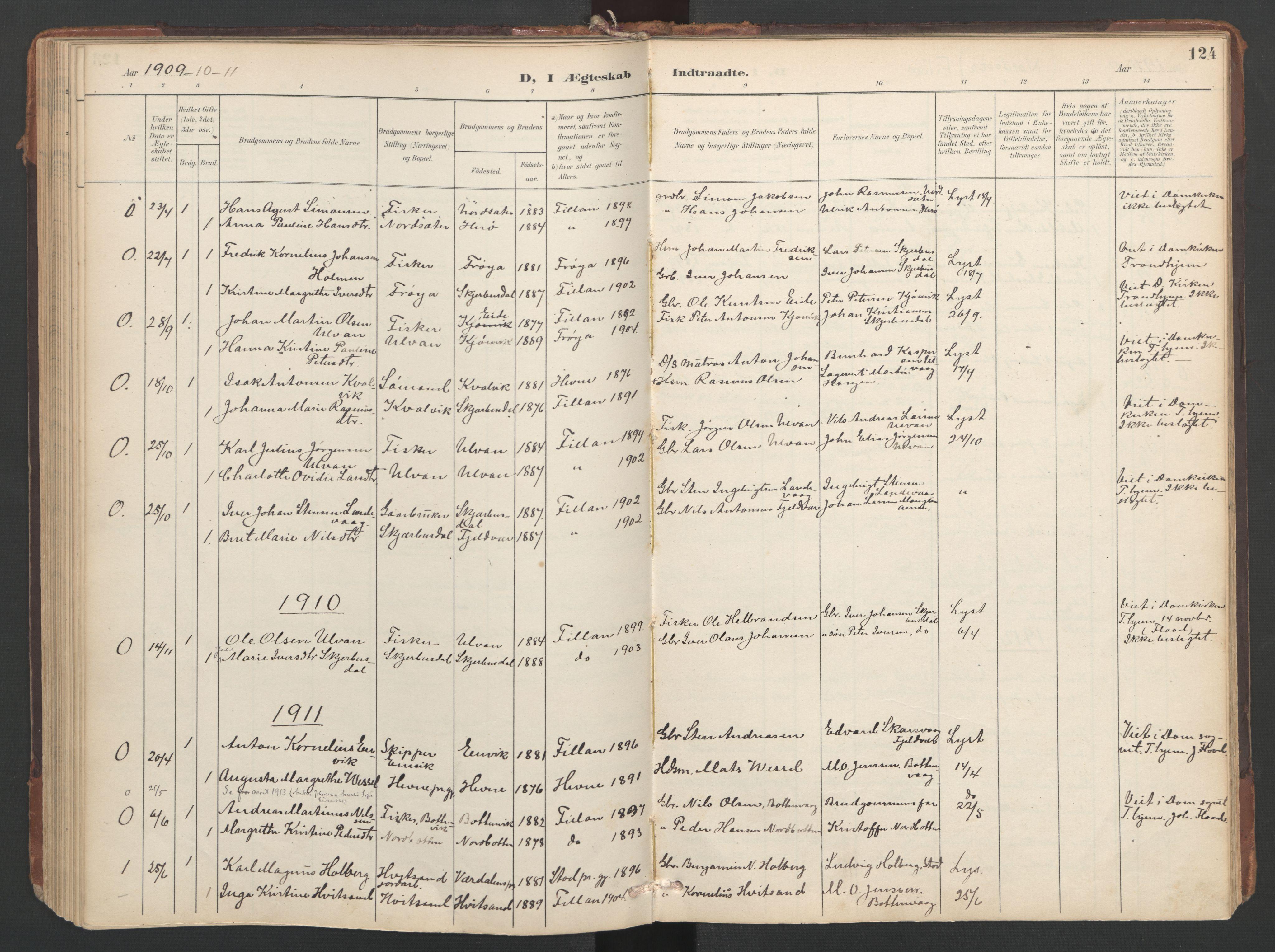 SAT, Ministerialprotokoller, klokkerbøker og fødselsregistre - Sør-Trøndelag, 638/L0568: Ministerialbok nr. 638A01, 1901-1916, s. 124