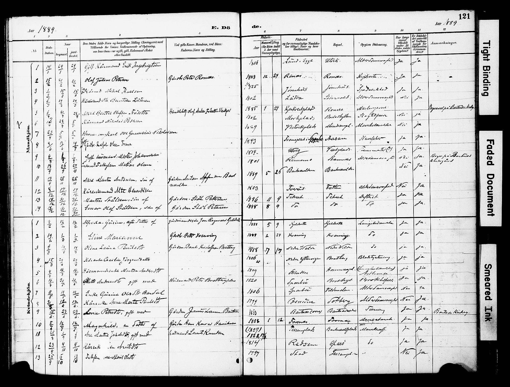 SAT, Ministerialprotokoller, klokkerbøker og fødselsregistre - Nord-Trøndelag, 741/L0396: Ministerialbok nr. 741A10, 1889-1901, s. 121