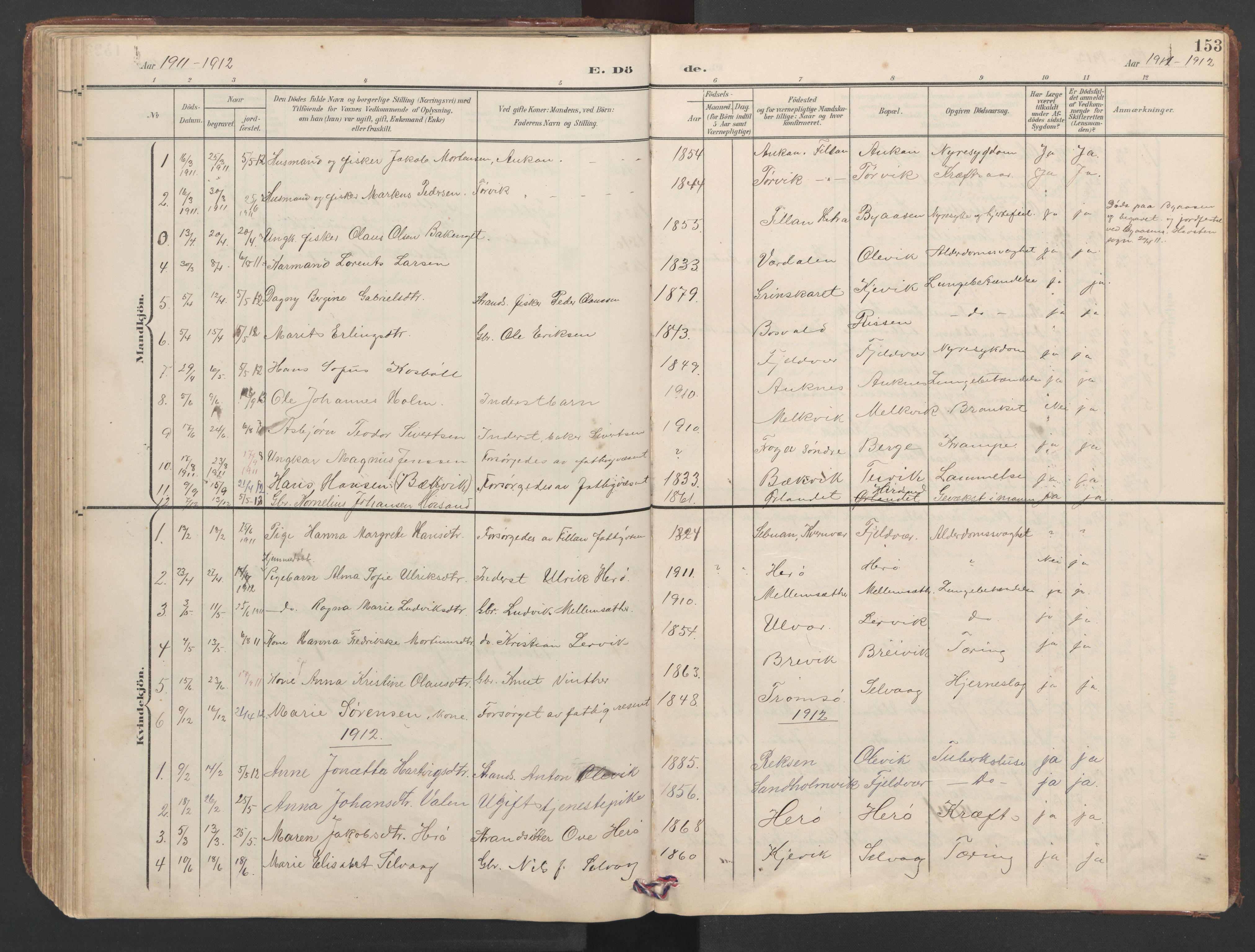 SAT, Ministerialprotokoller, klokkerbøker og fødselsregistre - Sør-Trøndelag, 638/L0571: Klokkerbok nr. 638C03, 1901-1930, s. 153