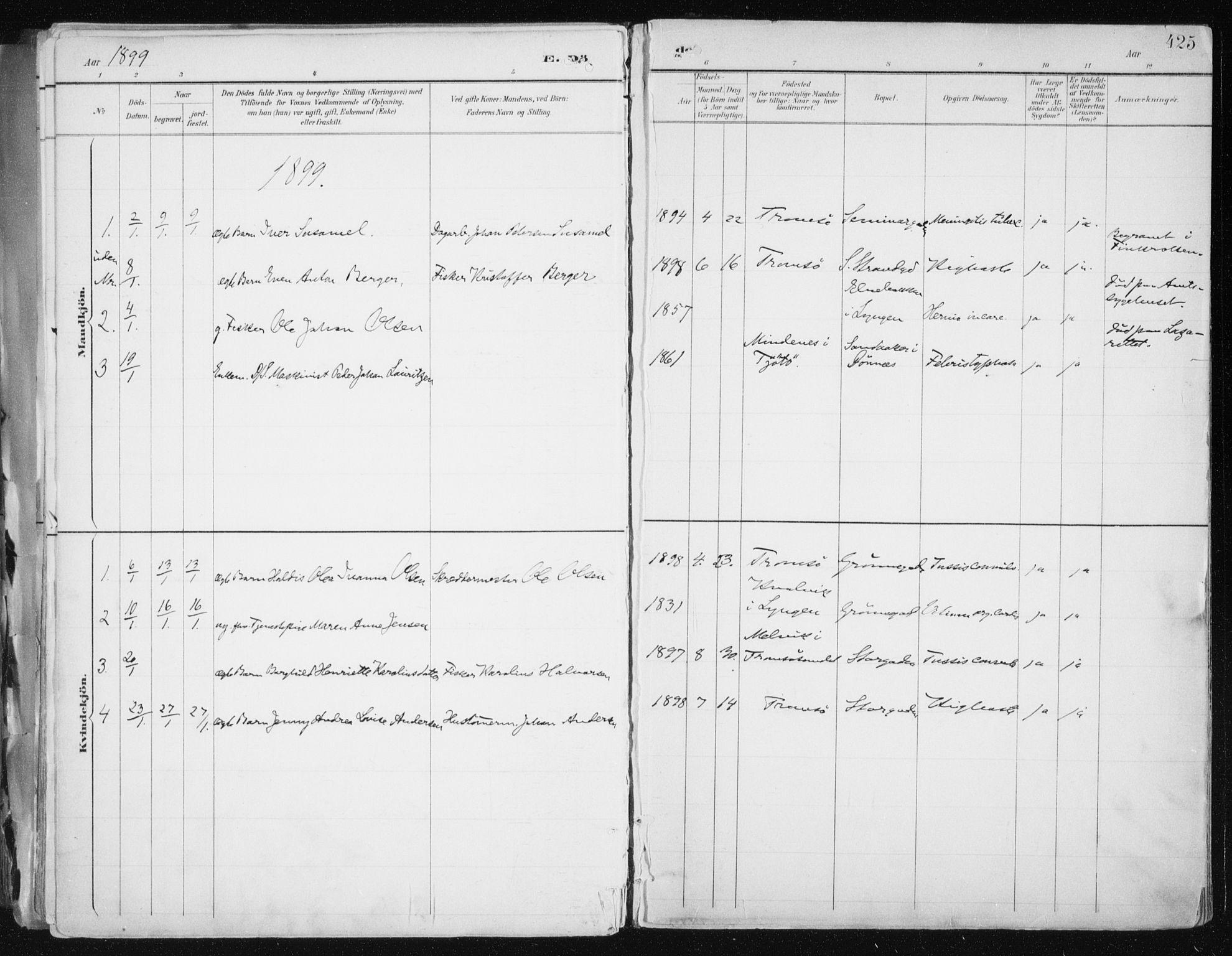 SATØ, Tromsø sokneprestkontor/stiftsprosti/domprosti, G/Ga/L0015kirke: Ministerialbok nr. 15, 1889-1899, s. 425