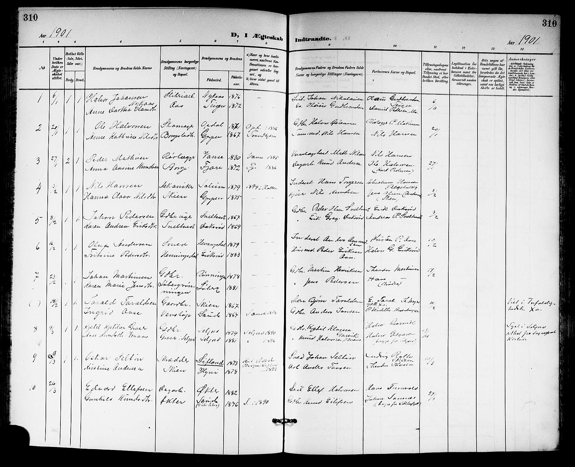 SAKO, Gjerpen kirkebøker, G/Ga/L0003: Klokkerbok nr. I 3, 1901-1919, s. 310