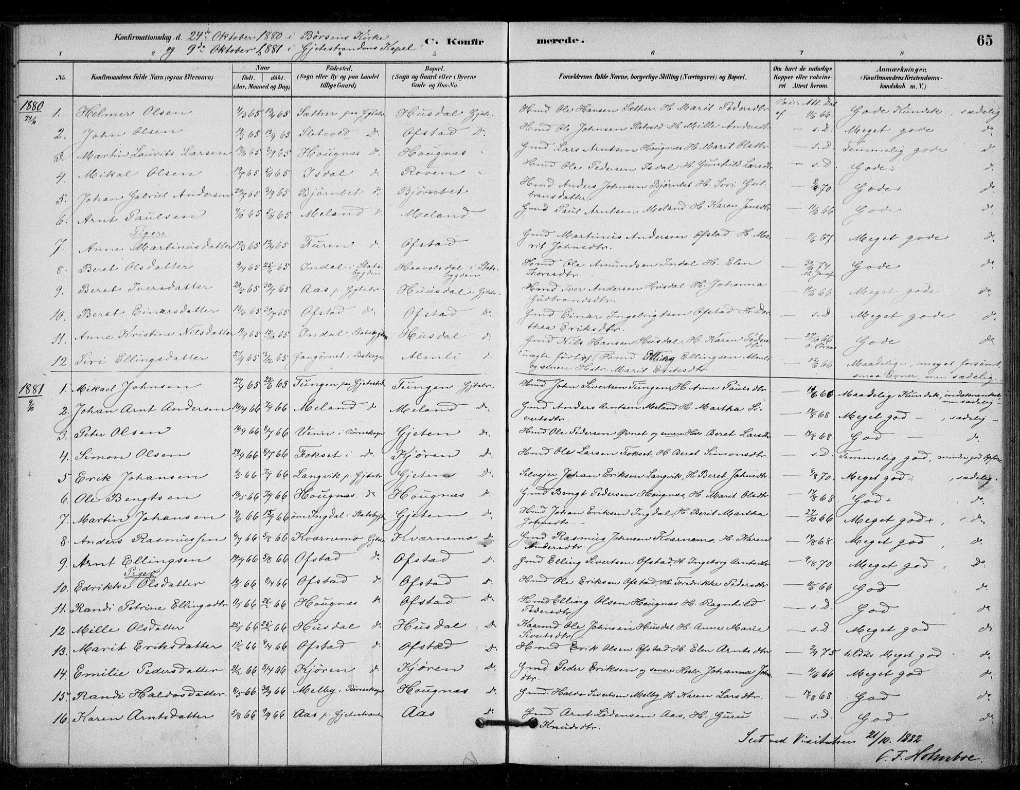 SAT, Ministerialprotokoller, klokkerbøker og fødselsregistre - Sør-Trøndelag, 670/L0836: Ministerialbok nr. 670A01, 1879-1904, s. 65