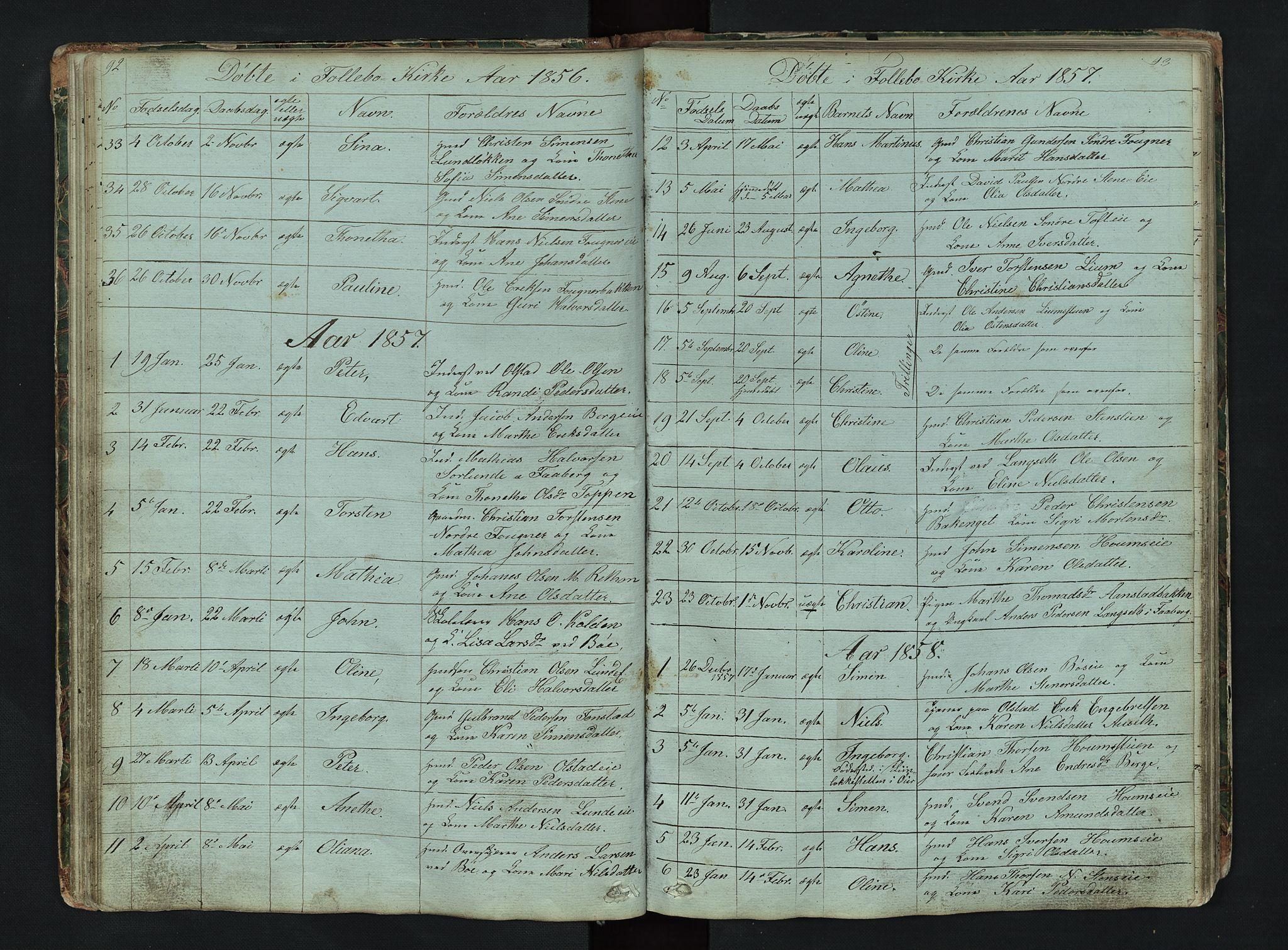 SAH, Gausdal prestekontor, Klokkerbok nr. 6, 1846-1893, s. 92-93