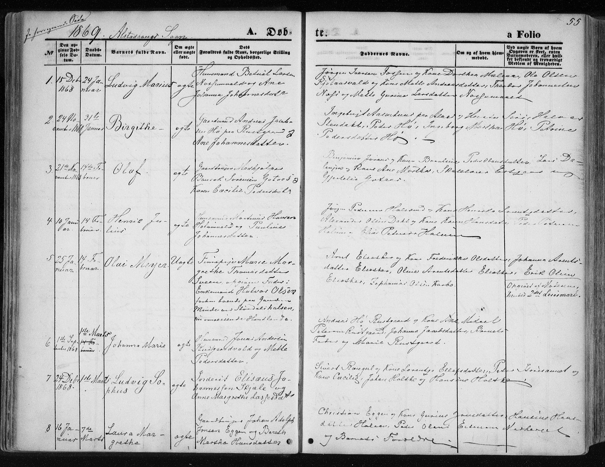 SAT, Ministerialprotokoller, klokkerbøker og fødselsregistre - Nord-Trøndelag, 717/L0157: Ministerialbok nr. 717A08 /1, 1863-1877, s. 55
