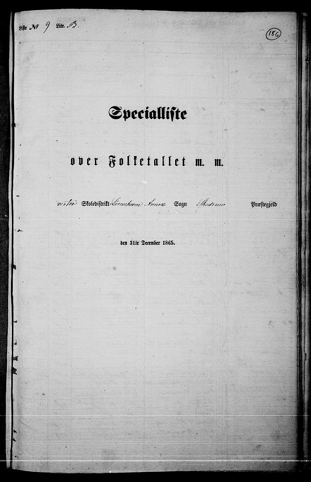RA, Folketelling 1865 for 0231P Skedsmo prestegjeld, 1865, s. 165