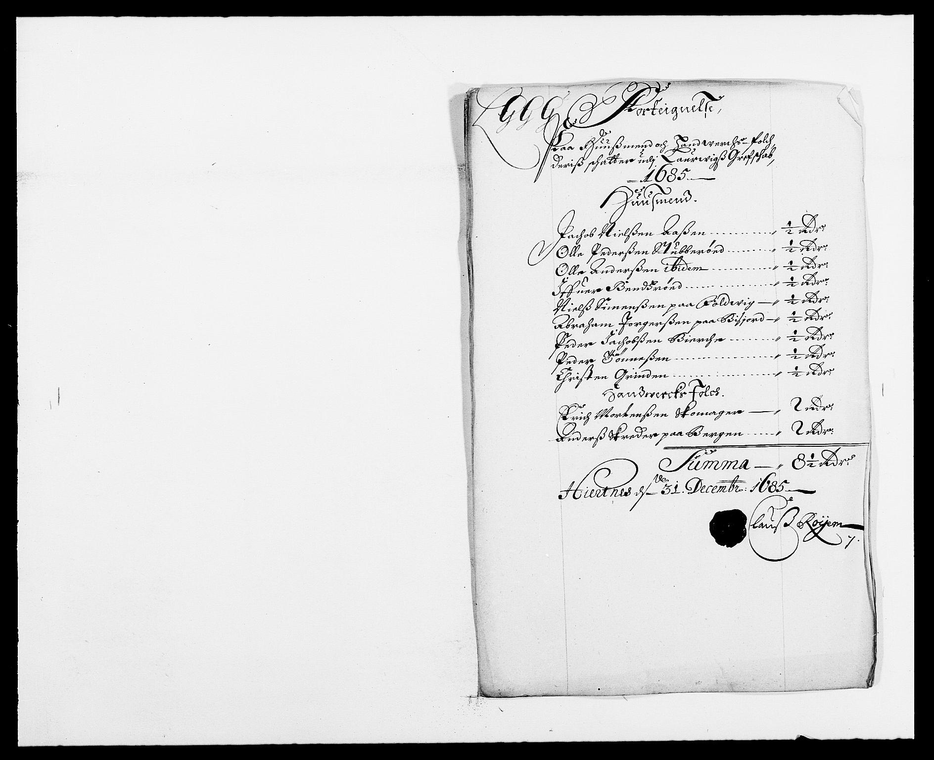 RA, Rentekammeret inntil 1814, Reviderte regnskaper, Fogderegnskap, R33/L1970: Fogderegnskap Larvik grevskap, 1675-1687, s. 106